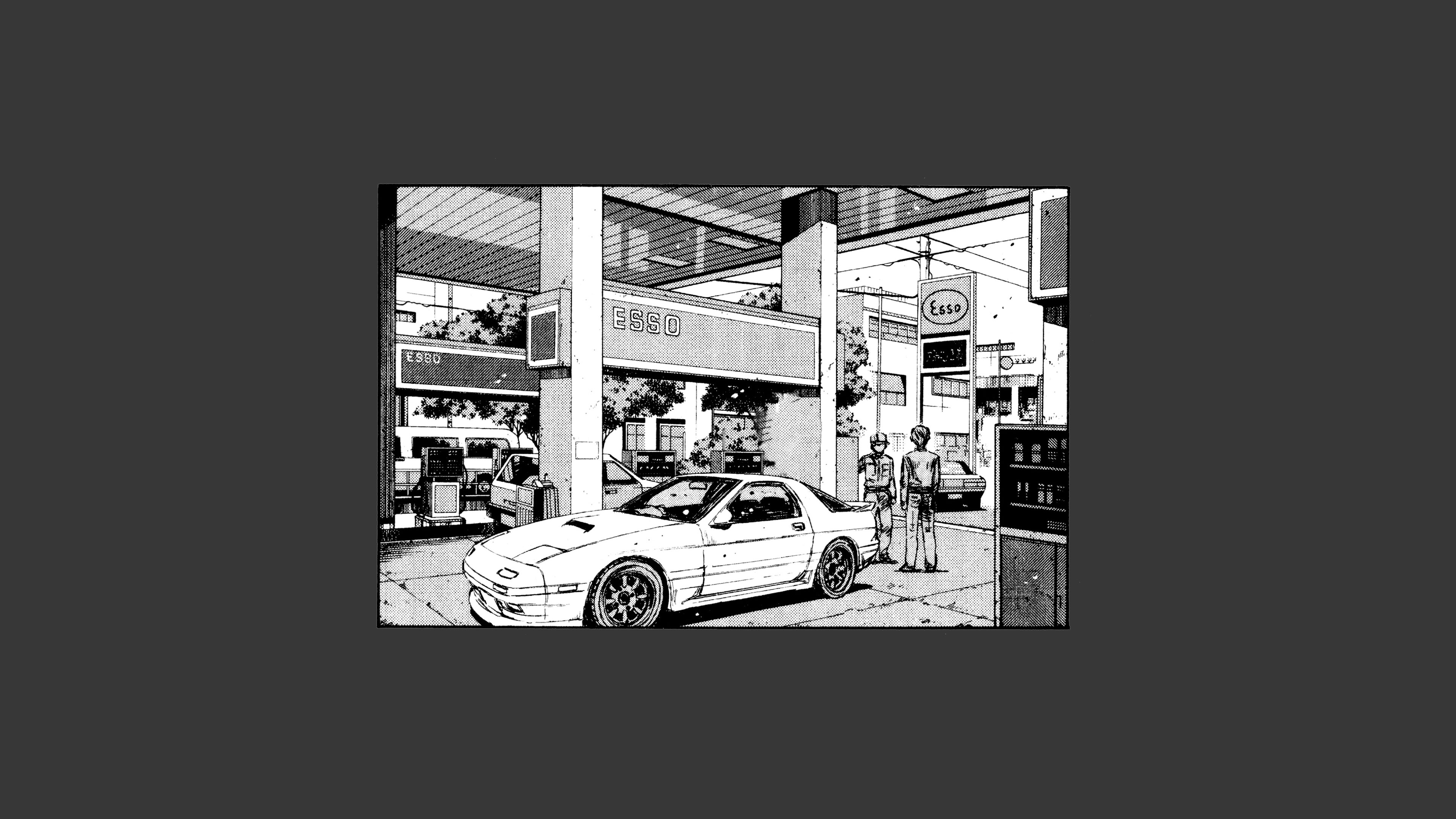 Anime 3840x2160 Initial D Mitsubishi Lancer Evo V car artwork white cars gray background gray gas station drawing