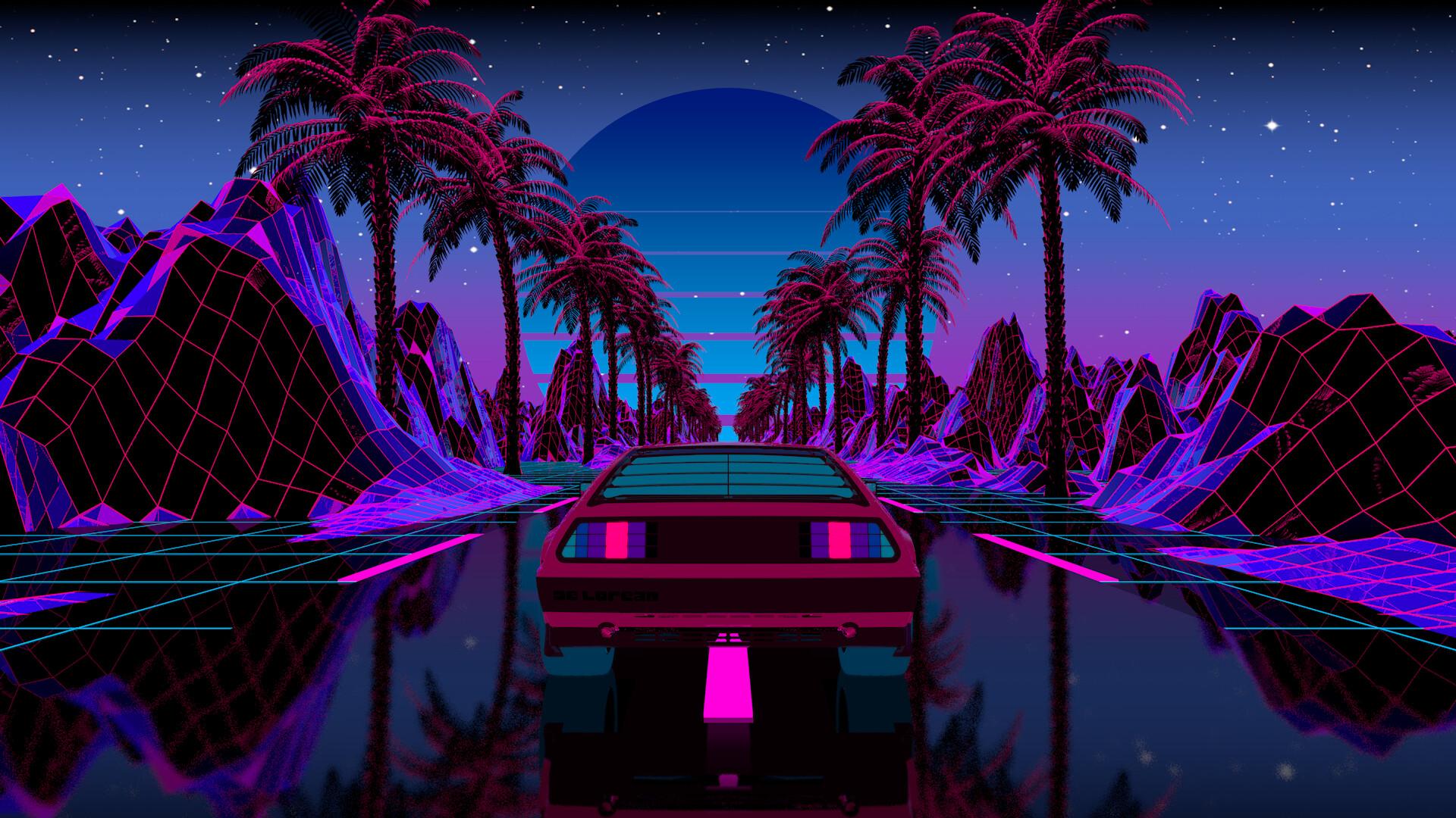 General 1920x1080 OutRun car vehicle transport palm trees cyber reflection Sun purple pink cyan digital artwork illustration evening neon landscape nature mountains vaporwave synthwave Retrowave