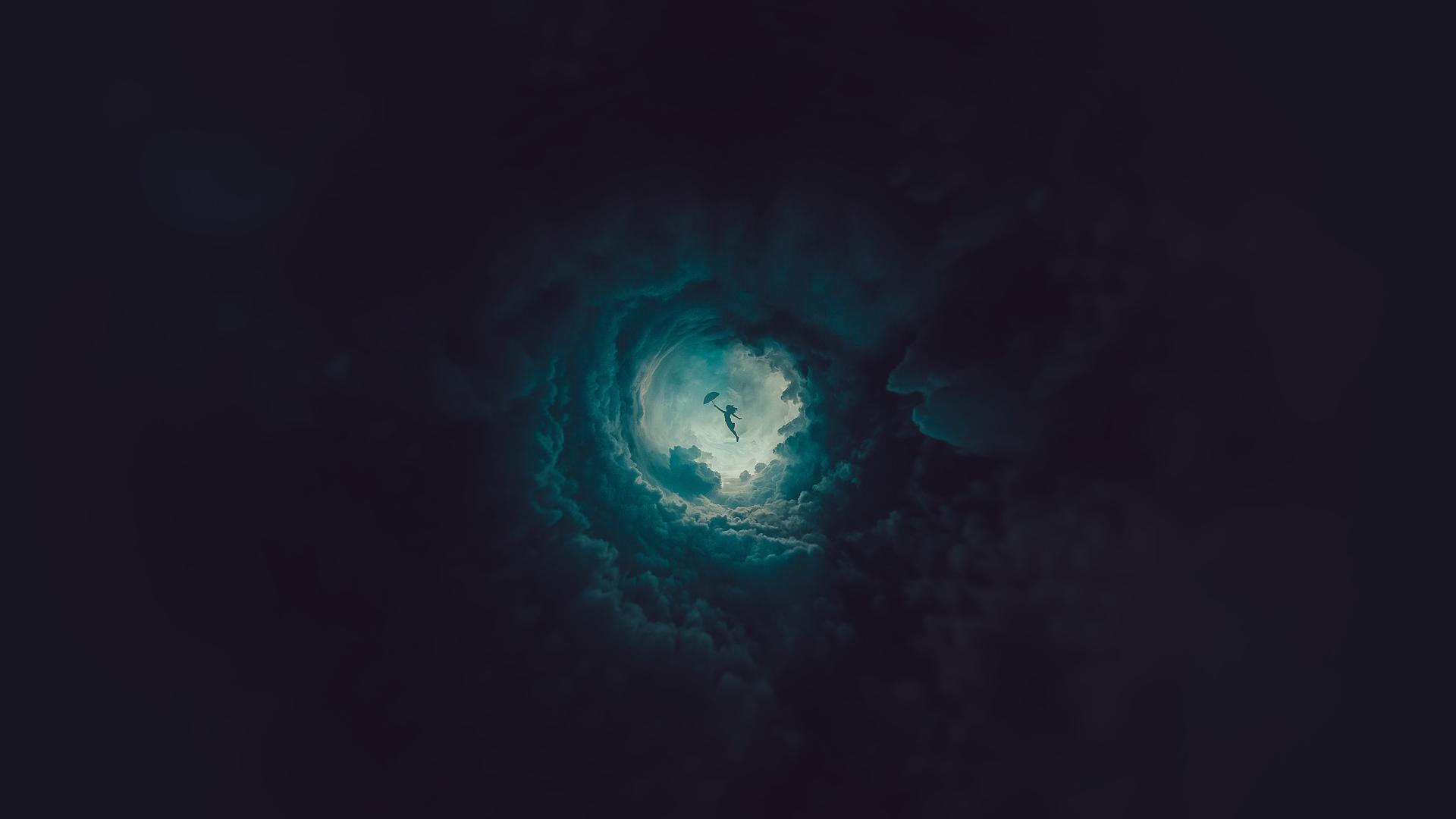 General 1920x1080 simple background sky children flying clouds digital digital art