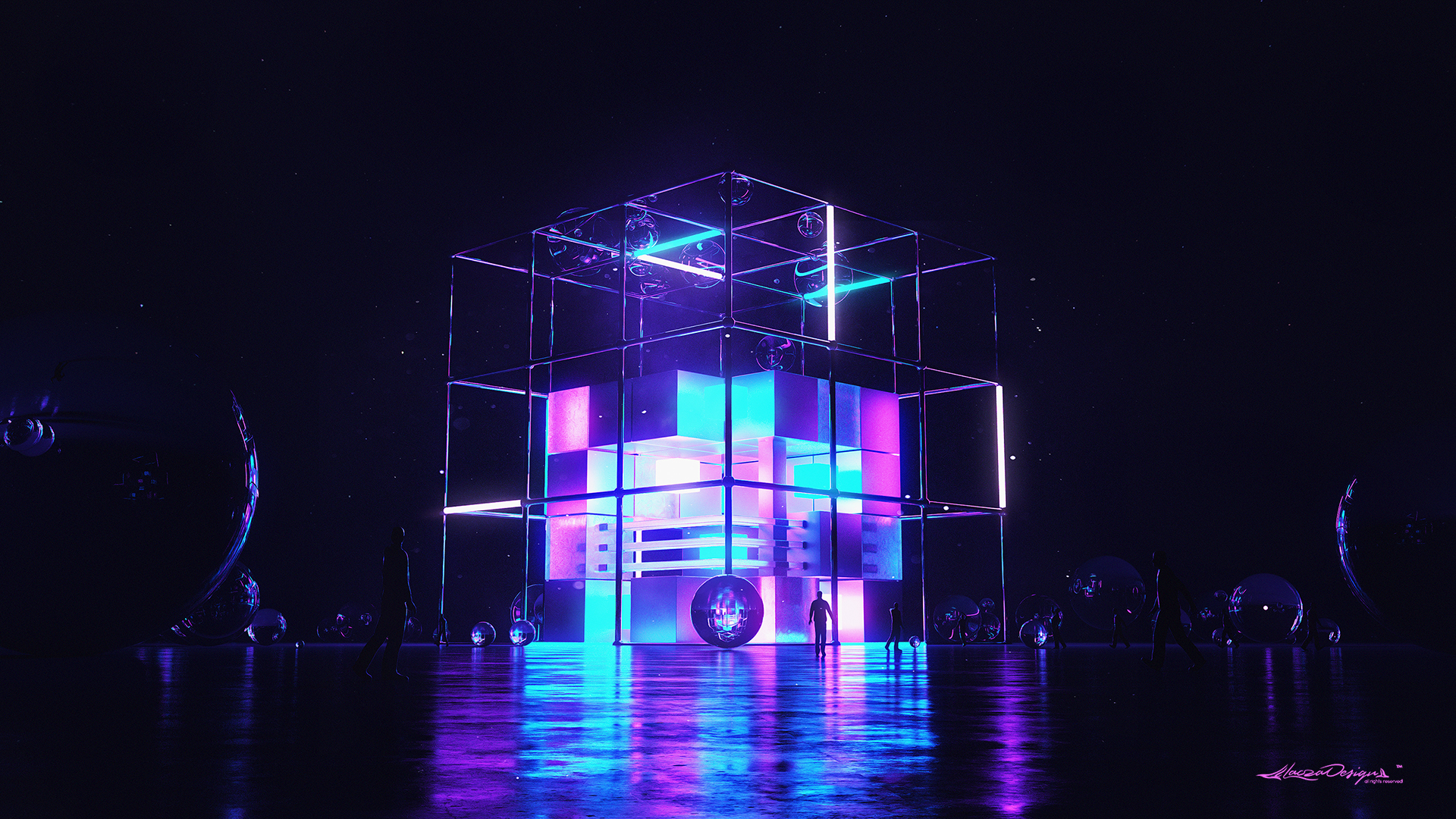 General 1920x1080 digital digital art artwork 3D night landscape architecture silhouette people sphere cube reflection lights neon neon lights glowing 3D Abstract abstract blue pink dark futuristic cyberpunk science fiction surreal cyan CGI 3D Blocks DeviantArt