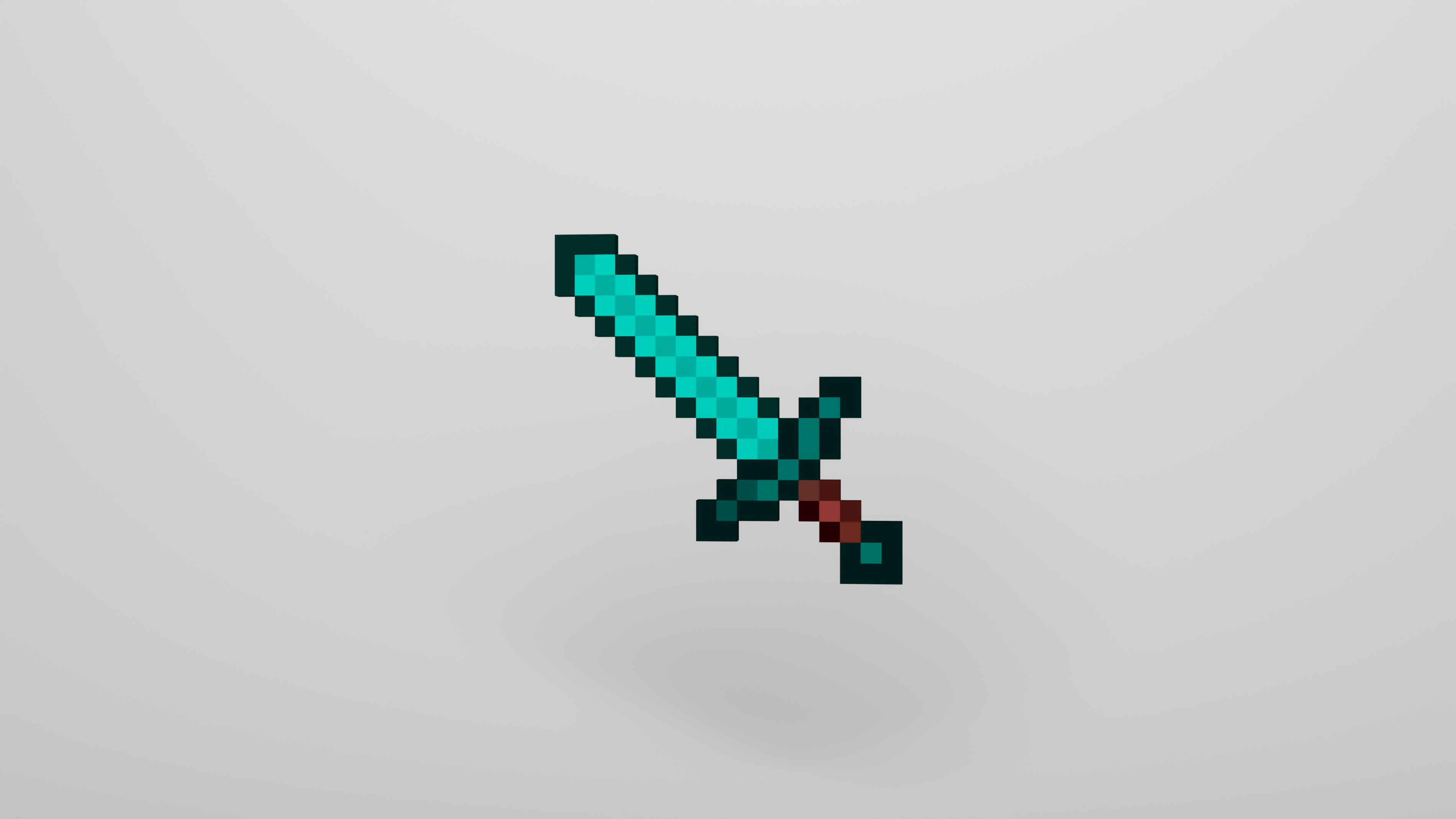 General 3800x2138 Minecraft video games sword turquoise white background