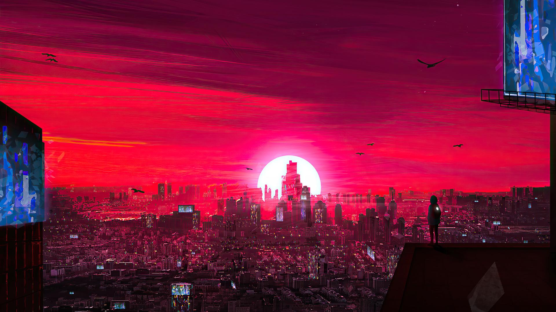 General 1920x1080 artwork digital city far view ArtStation sky futuristic city skyscraper cityscape science fiction white