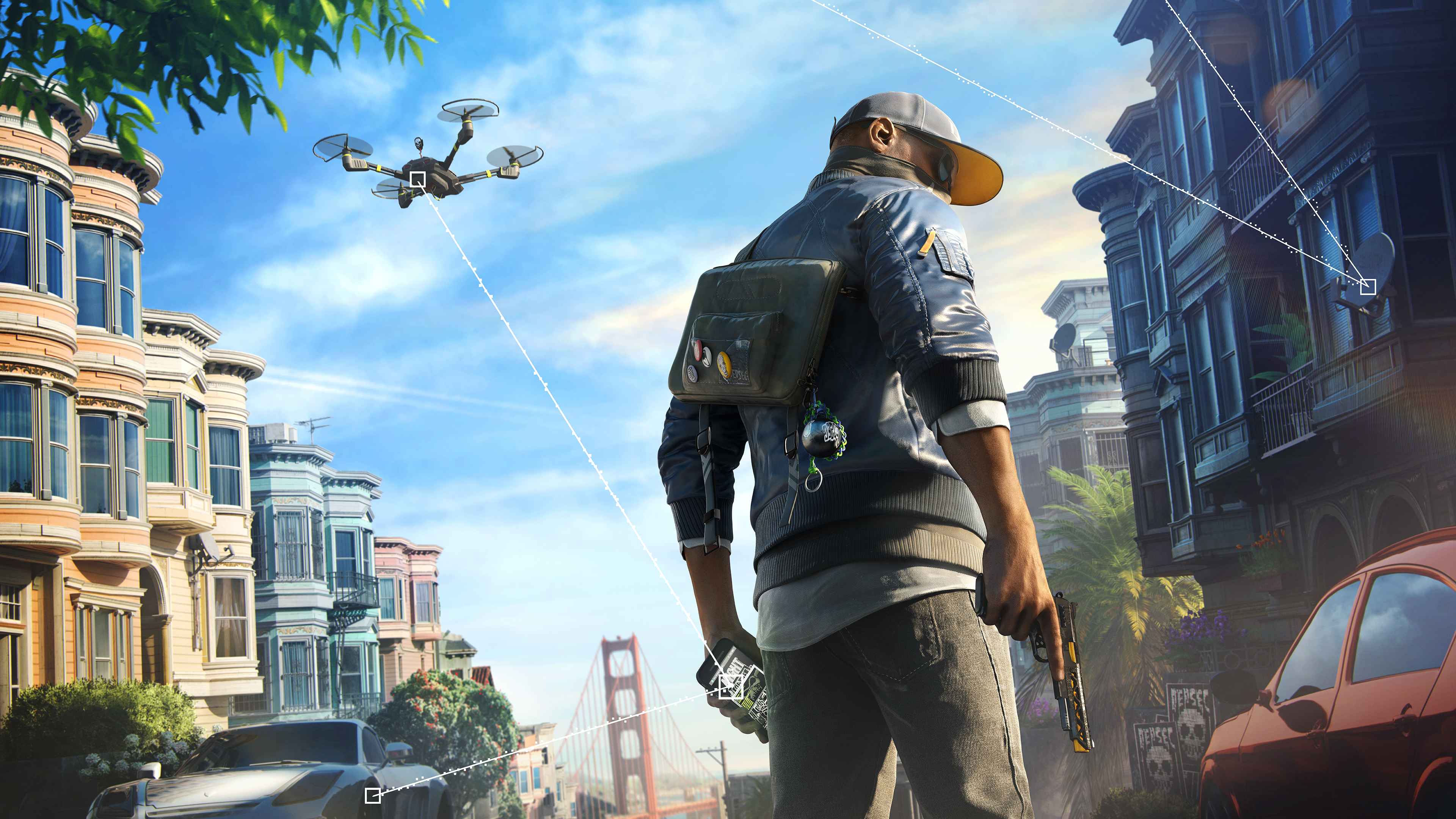 General 3840x2160 Watch_Dogs Watch_Dogs 2 video games pistol video game characters city drone hacking blue jacket smartphone