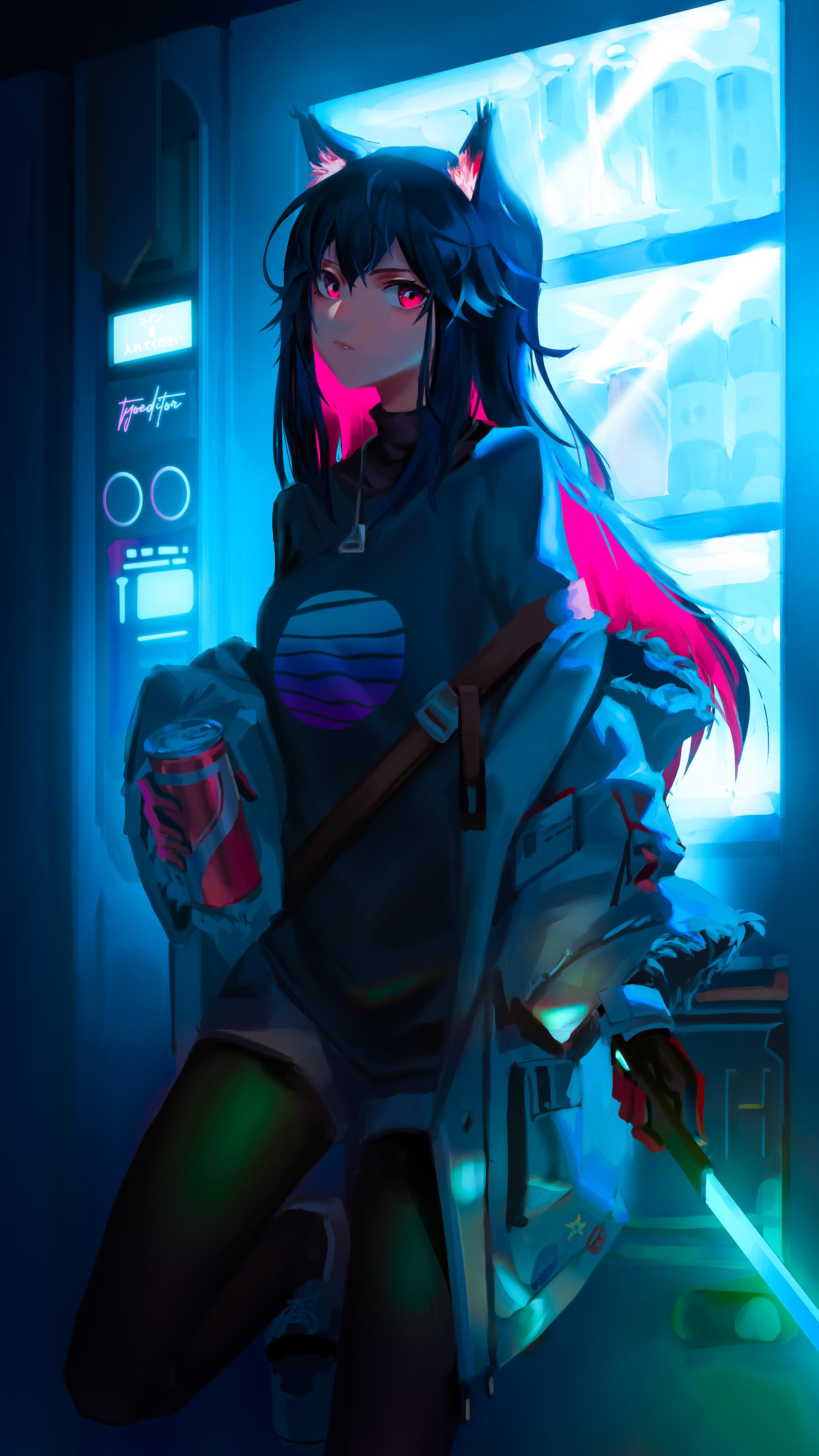 Anime 2250x4000 laser saber drink cyber red eyes black hair pink hair Arknights Texas (Arknights) anime wolf ears wolf girls anime girls