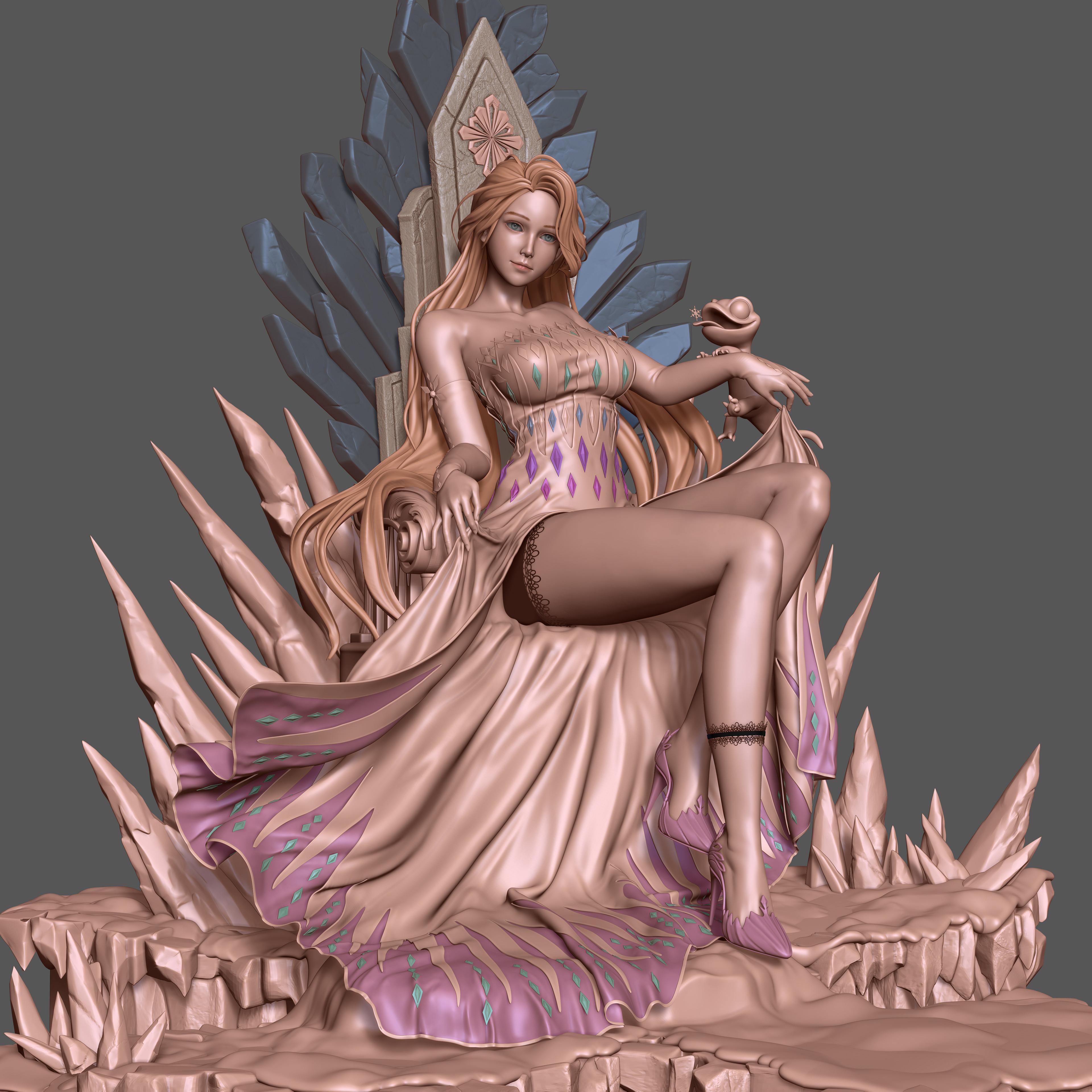 General 3840x3840 Cifangyi CGI women long hair dress purple throne shoes pink high heels blue eyes legs lace garter simple background spikes