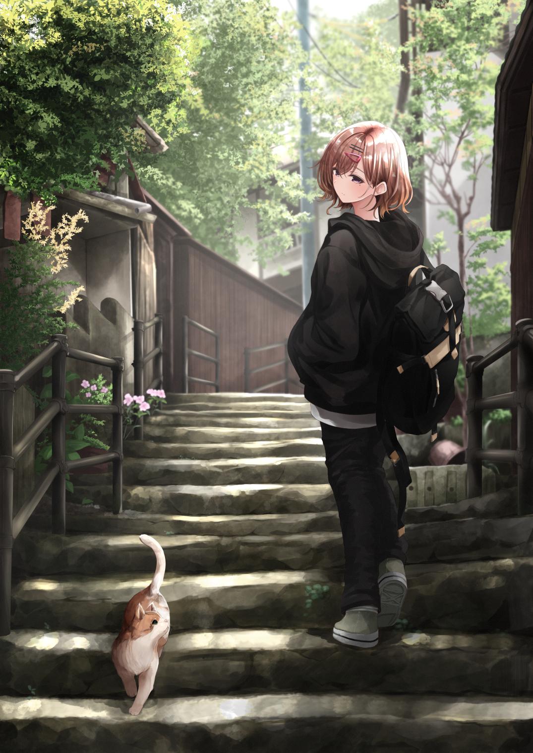Anime 1075x1518 anime anime girls digital art artwork 2D portrait display THE iDOLM@STER higuchi madoka Fuu (artist) cats short hair brunette