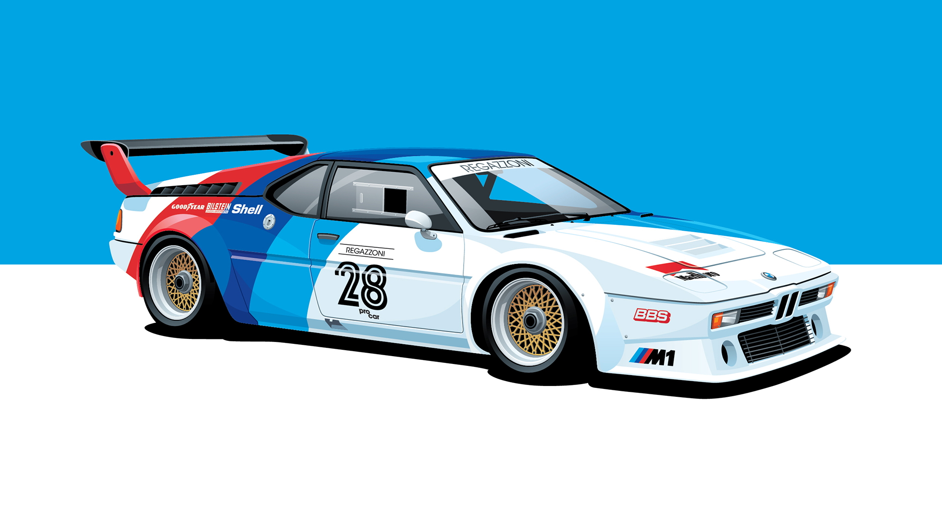 General 1920x1080 bmw m1 Procar race cars car poster pop-up headlights