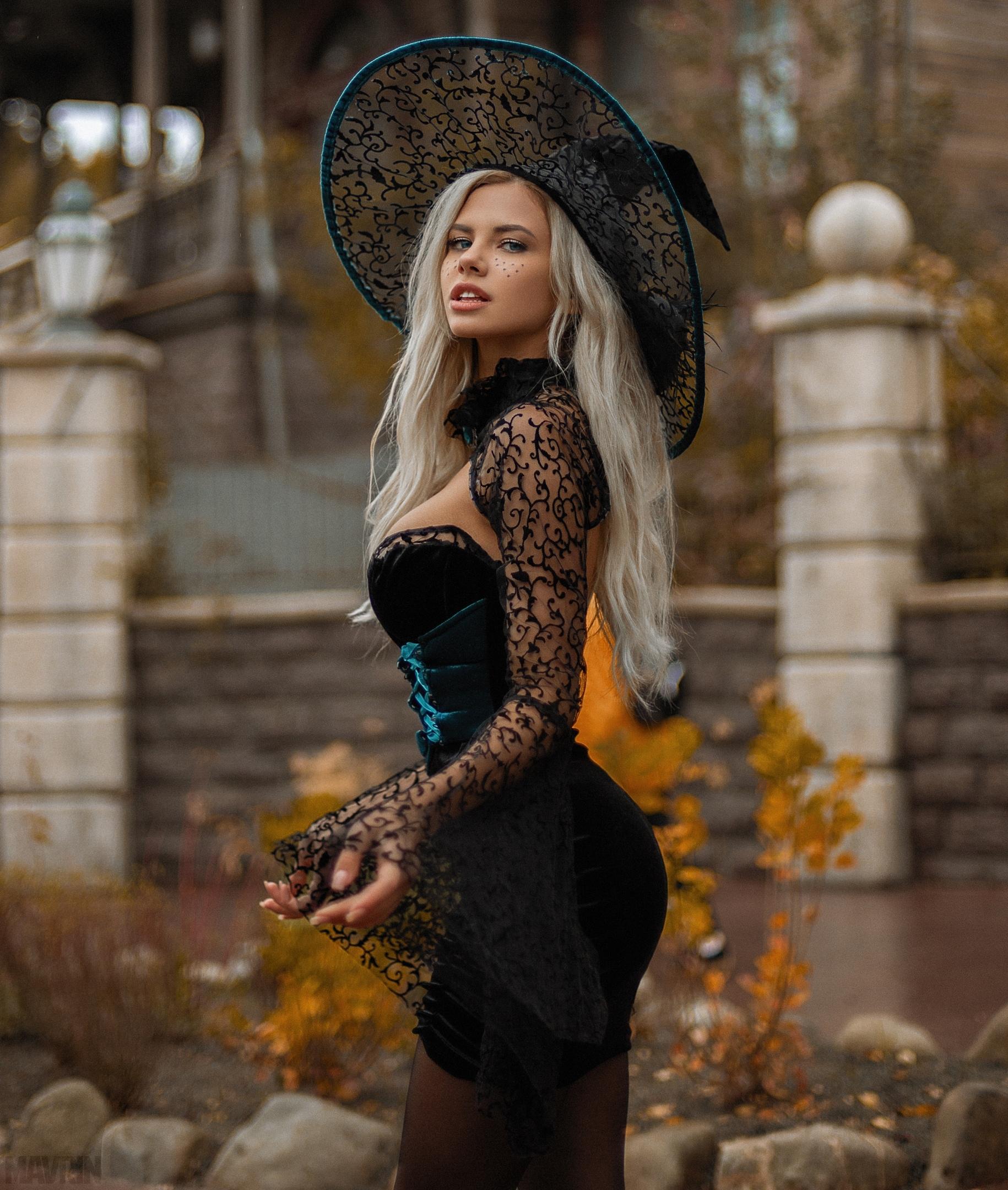 People 1830x2160 Nata Lee women outdoors Russian women model Aleksandr Mavrin women portrait display blonde dress hat standing looking at viewer black dress curvy tight dress black clothing pantyhose