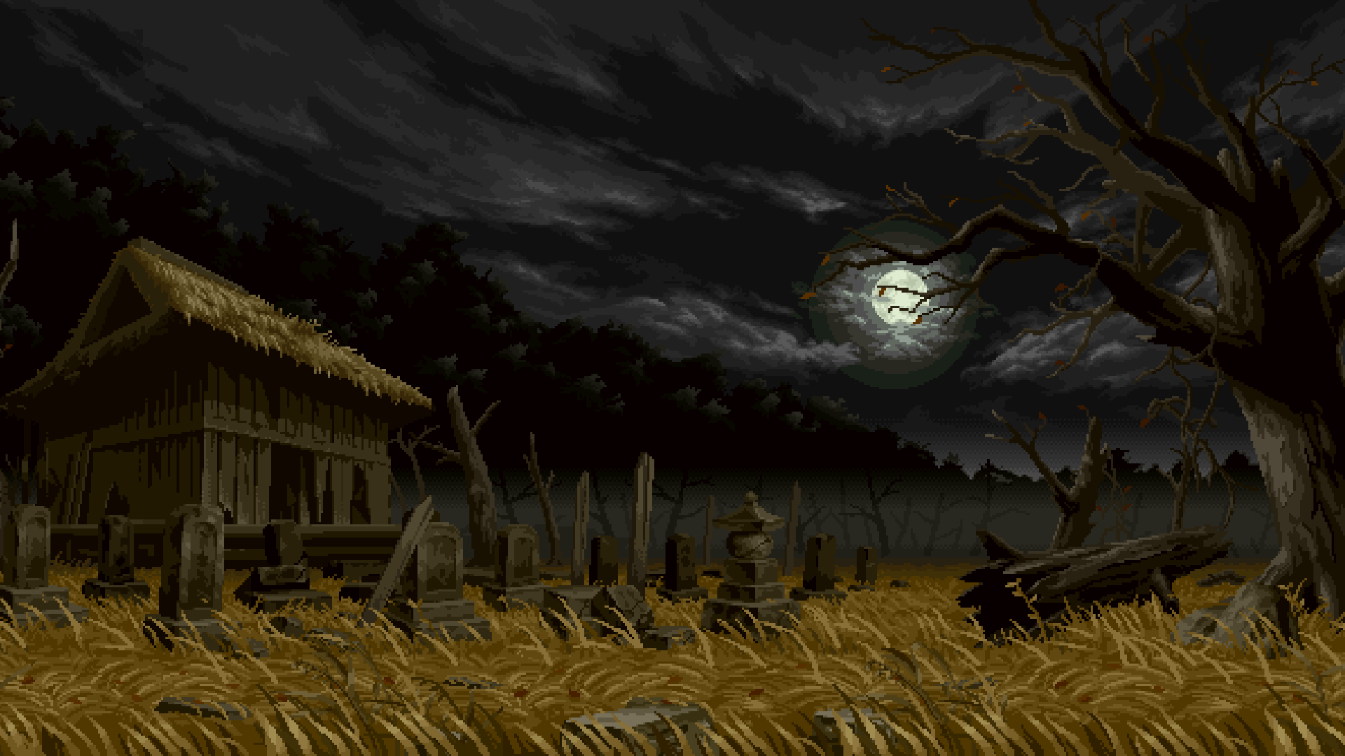 General 1920x1080 creepy night graveyards pixel art pixelated Moon grave trees grain cabin pixels dead trees branch