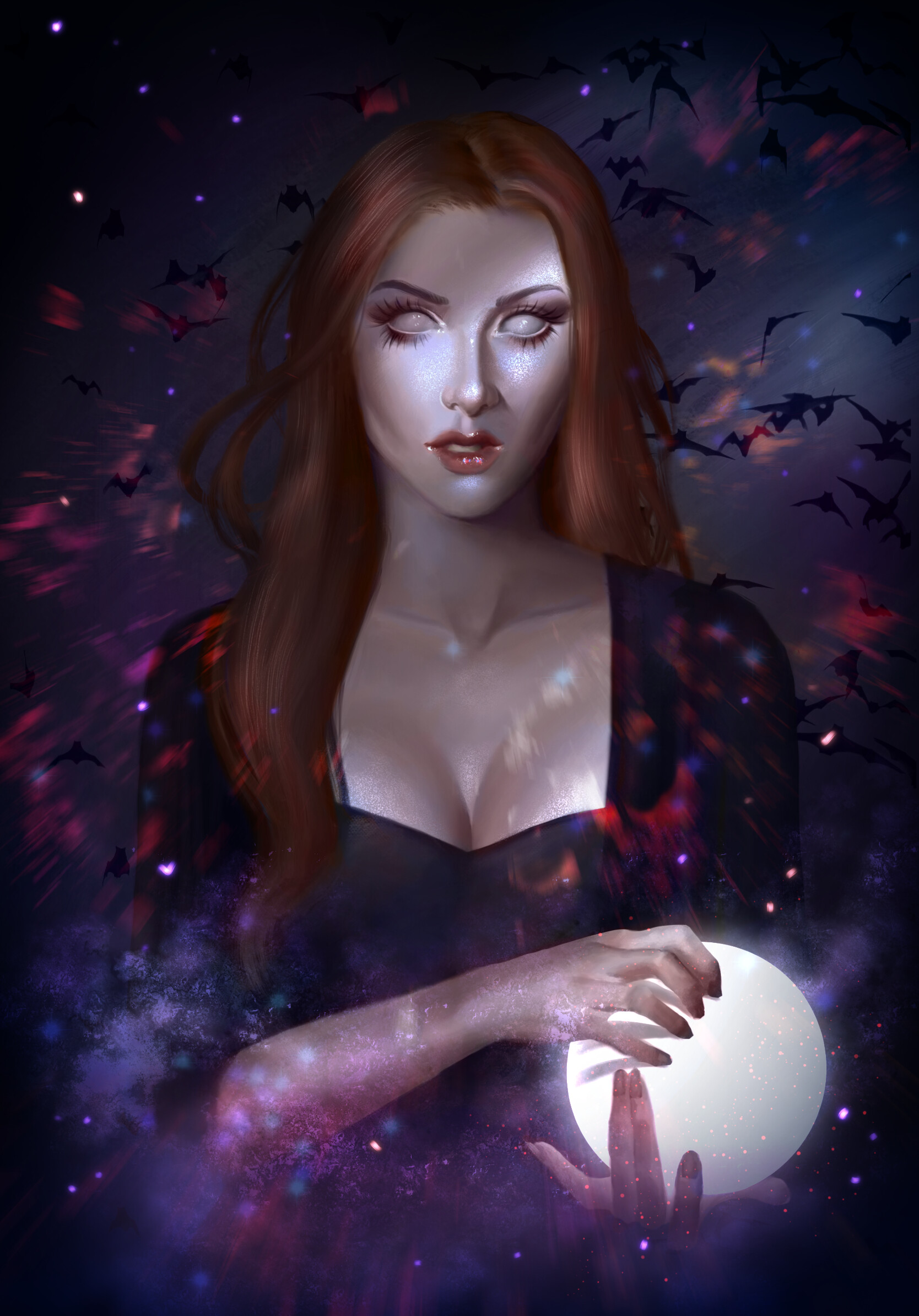 General 1668x2388 Emma Ronkainen artwork women witch white eyes portrait display redhead long hair cleavage bats digital painting digital art ArtStation open mouth