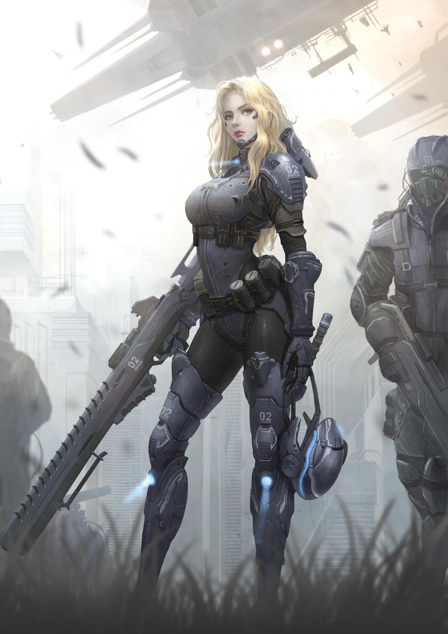Anime 1448x2048 anime girls portrait display futuristic futuristic armor science fiction