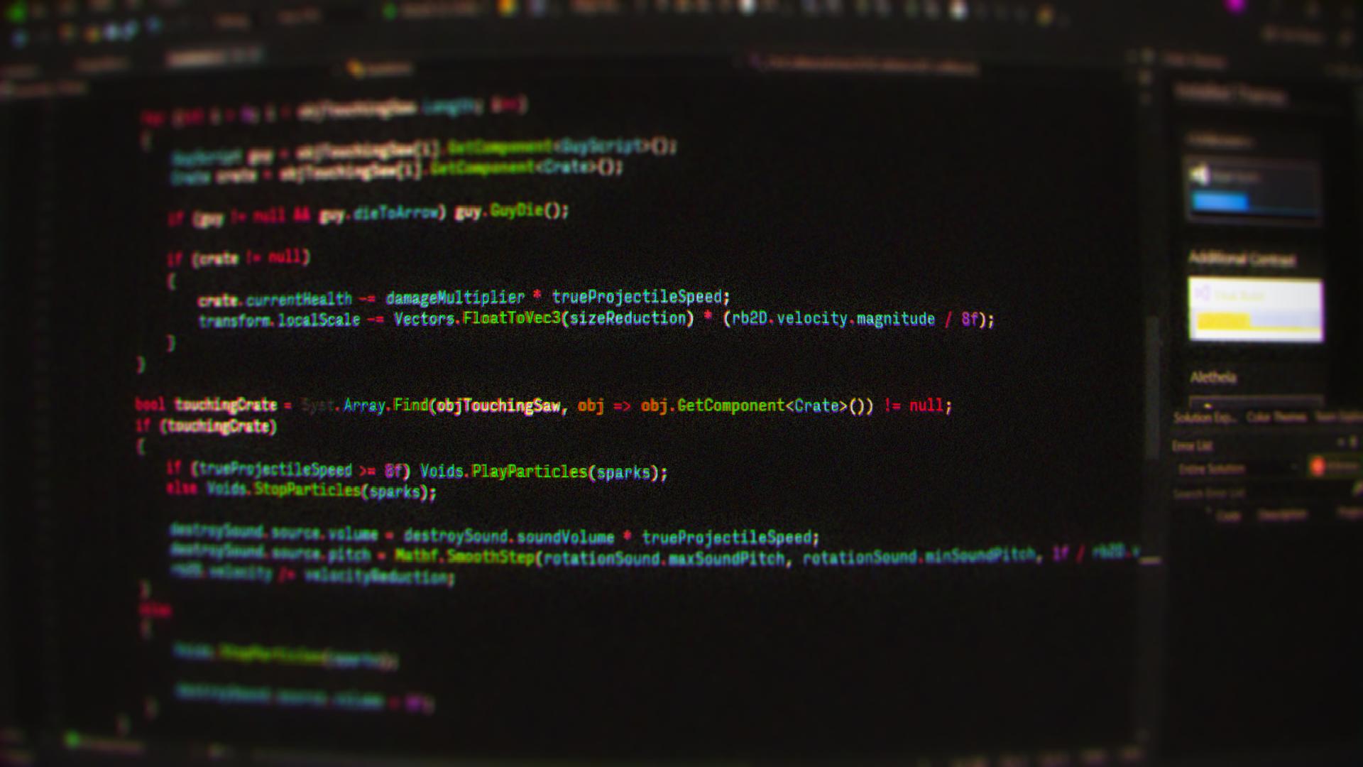 General 1920x1080 code computer technology programming programming language csharp depth of field monitor blurred tilt shift noisy grainy Microsoft Visual Studio syntax highlighting