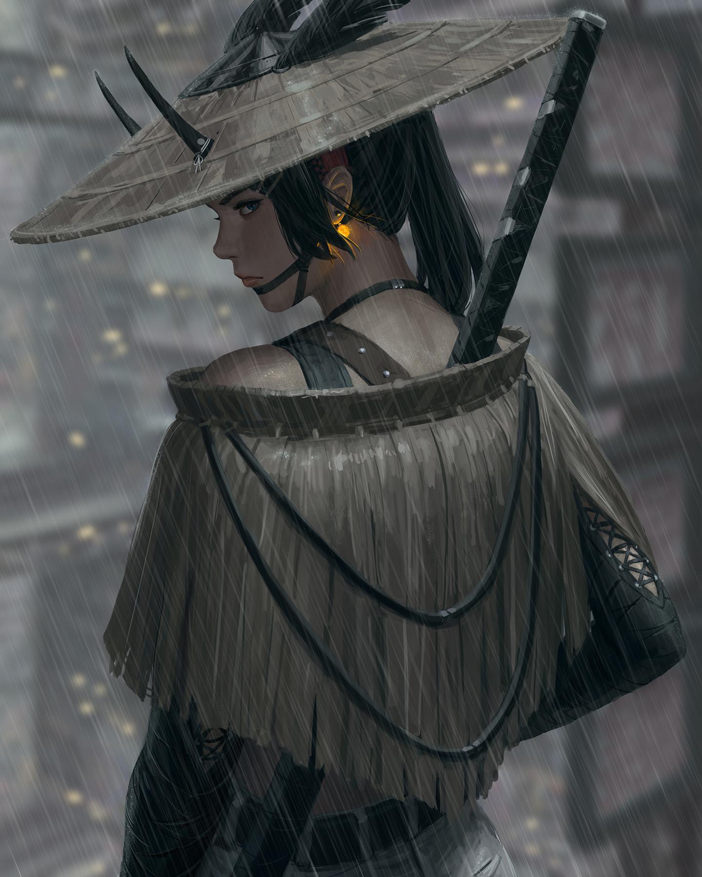 General 1440x1800 GUWEIZ digital art artwork digital painting fictional character katana bare shoulders hat women shinobi drawing rain