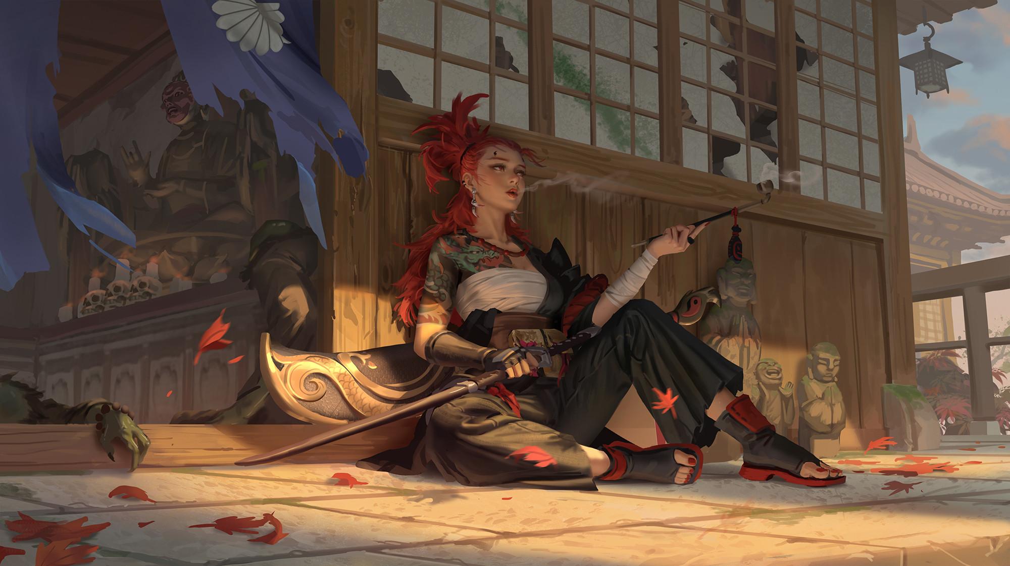 General 2000x1122 hou china digital art artwork digital painting women sword pipe painted nails redhead tattoo leaves Buddha sculpture skull fictional character