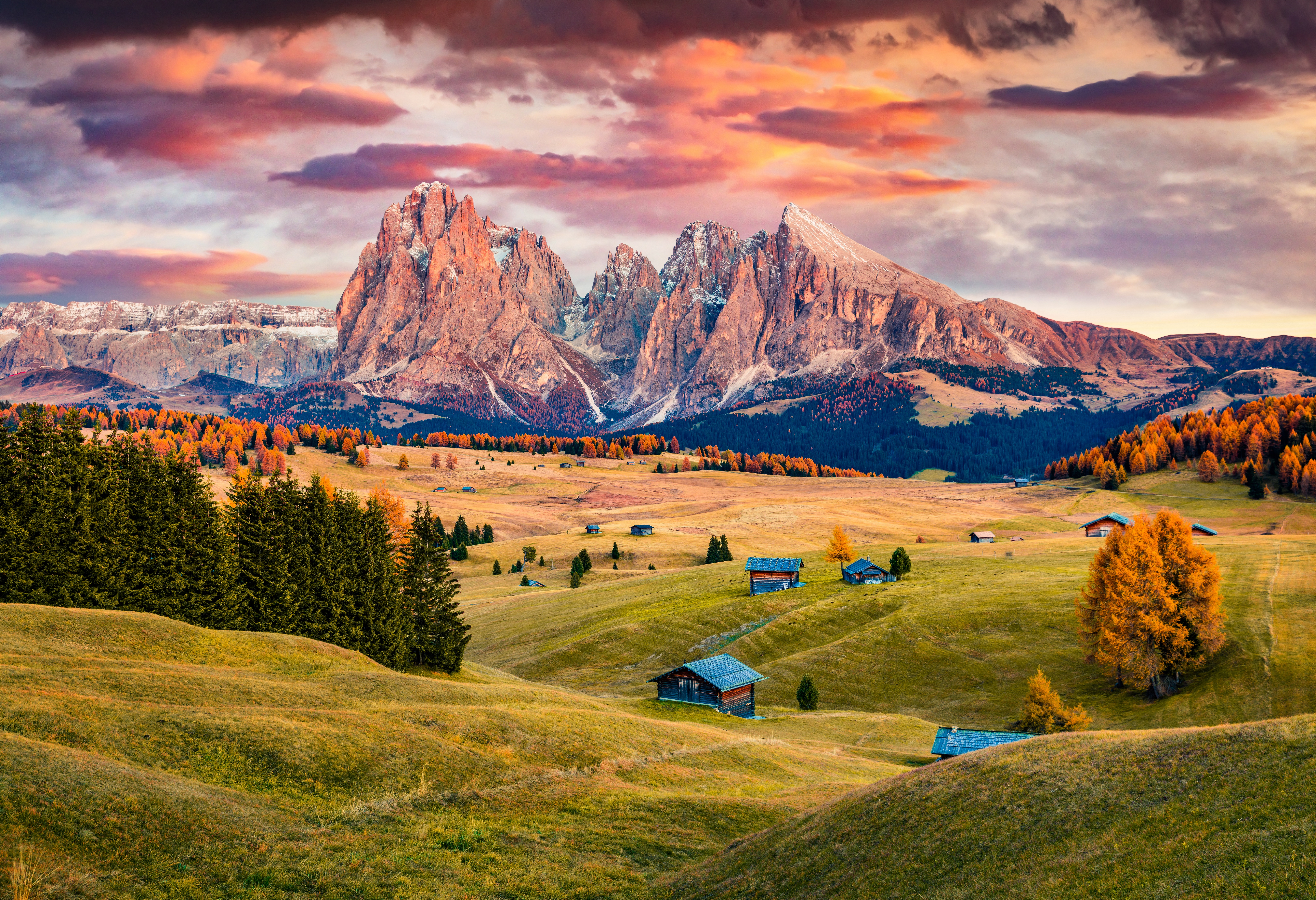 General 8500x5816 landscape mountains nature sunset forest trees valley Italy Dolomites (mountains)