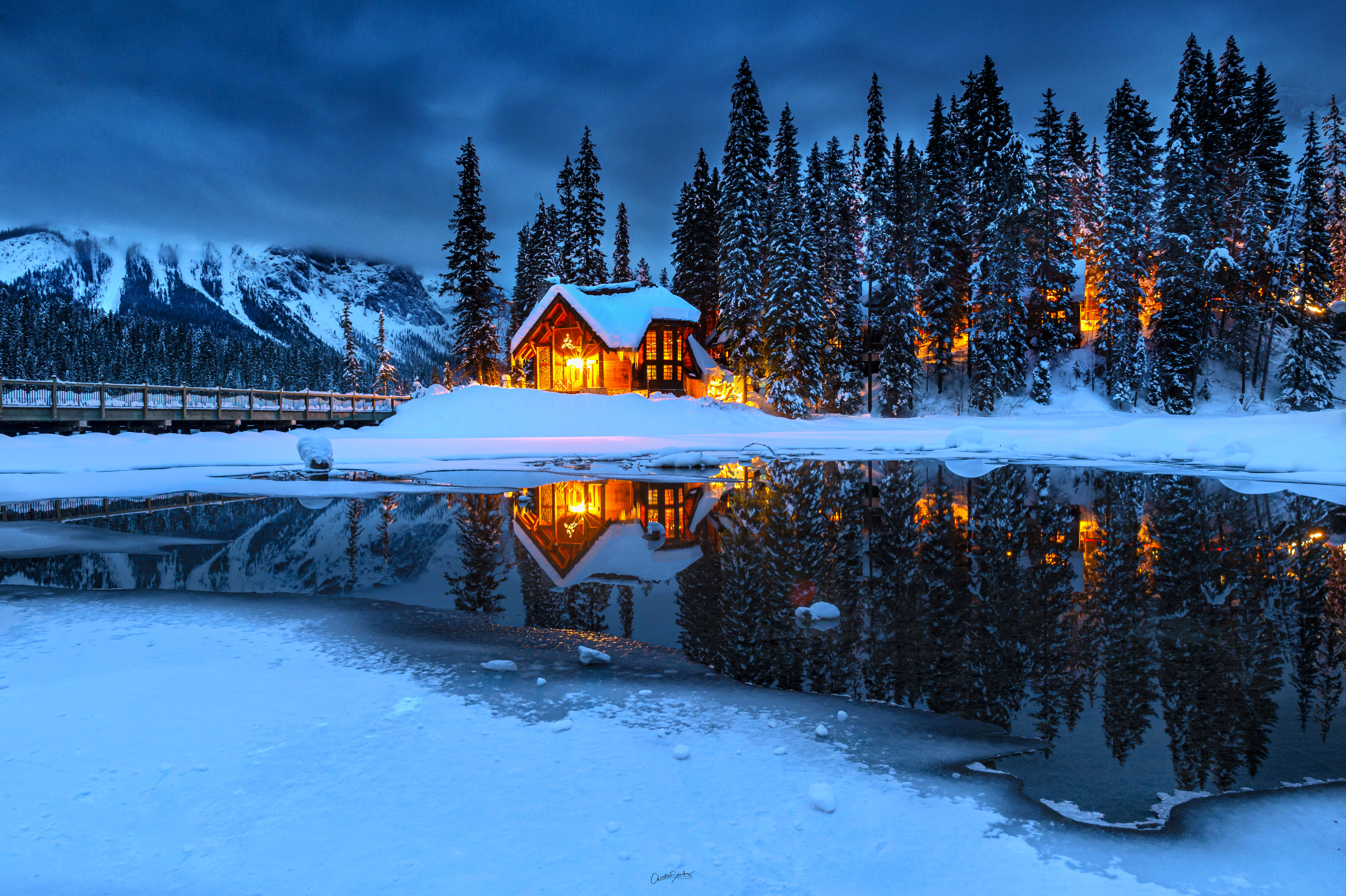 General 6144x4090 winter cabin night house lake water trees snow landscape pine trees