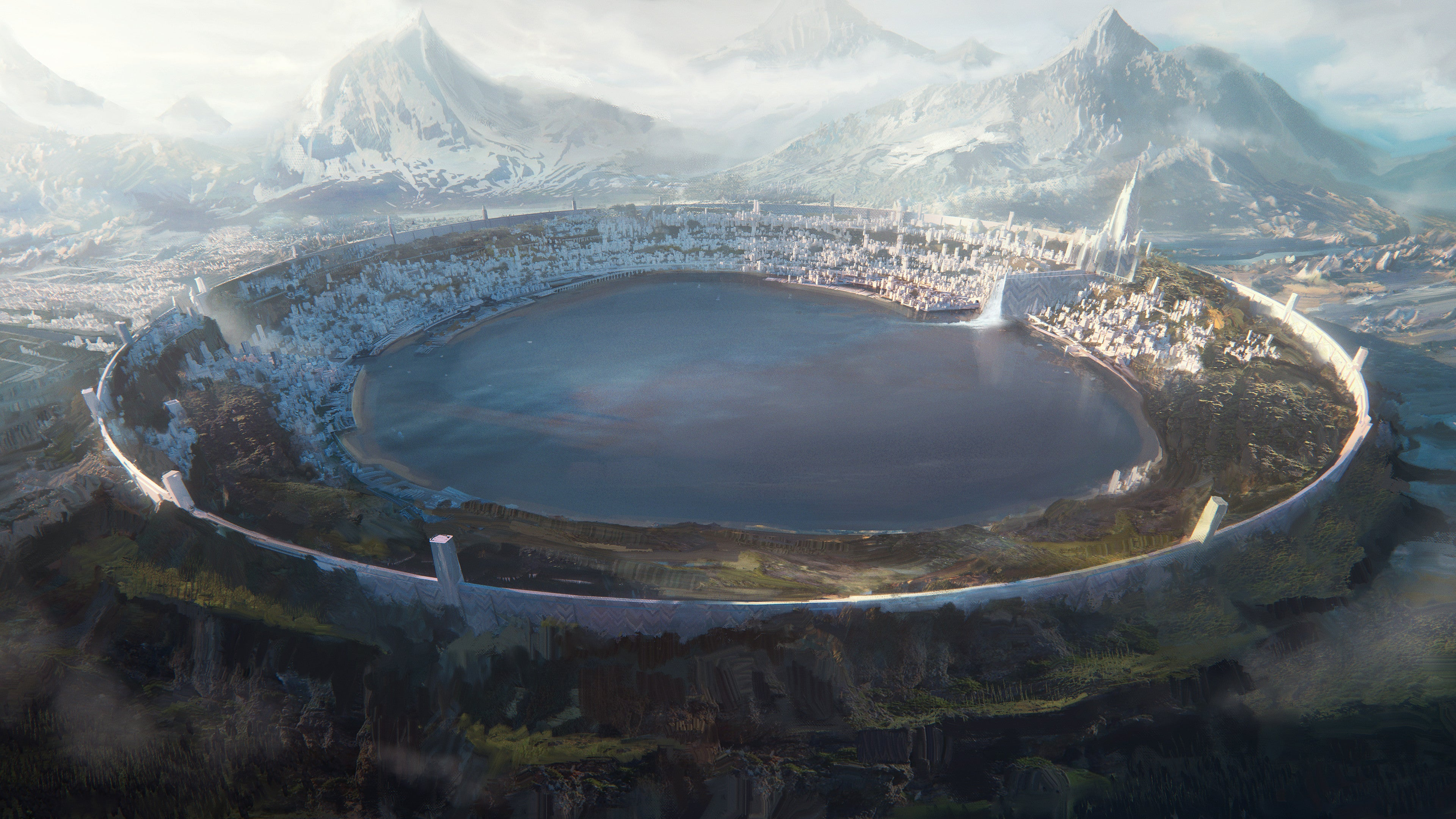 General 3840x2160 artwork digital art city fantasy architecture fantasy art mountains