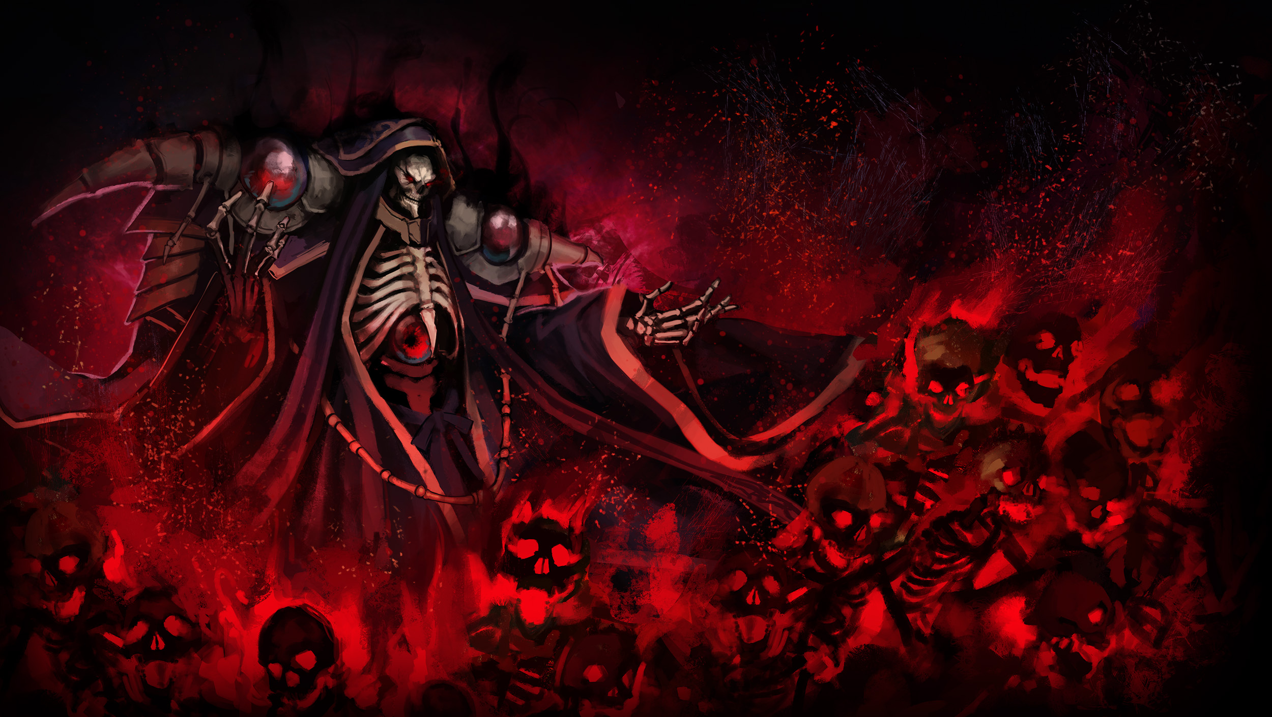 Anime 2500x1410 anime TunaMaYo Overlord (anime) Ainz Ooal Gown skeleton undead