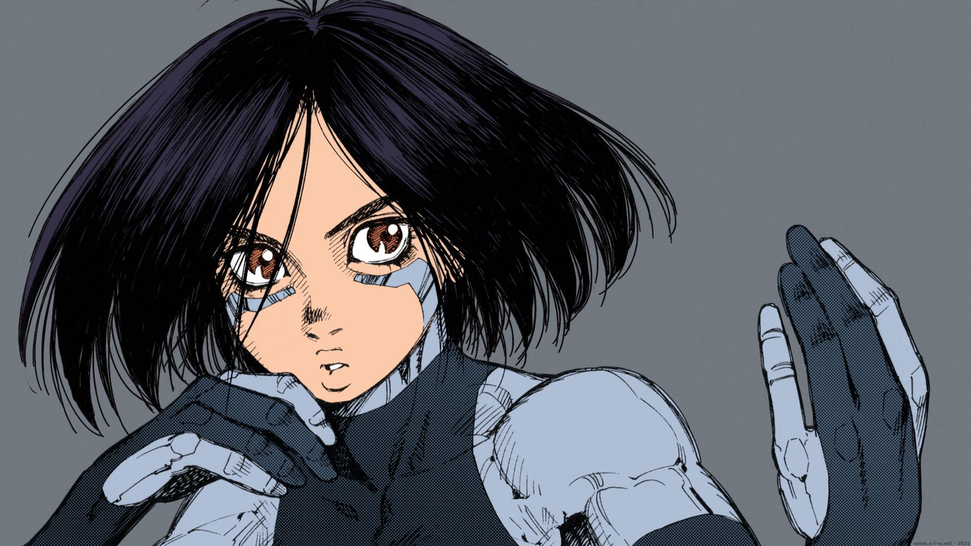 Anime 1920x1080 Battle Angel Alita Alita: Battle Angel GUNNM Gally Alita Yukito Kishiro short hair black hair brown eyes cyborg anime manga anime girls