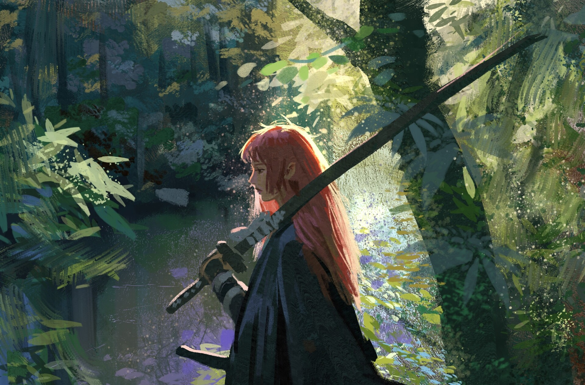 General 1920x1264 artwork fantasy art women sword women outdoors nature trees redhead weapon women with swords fantasy girl long hair forest