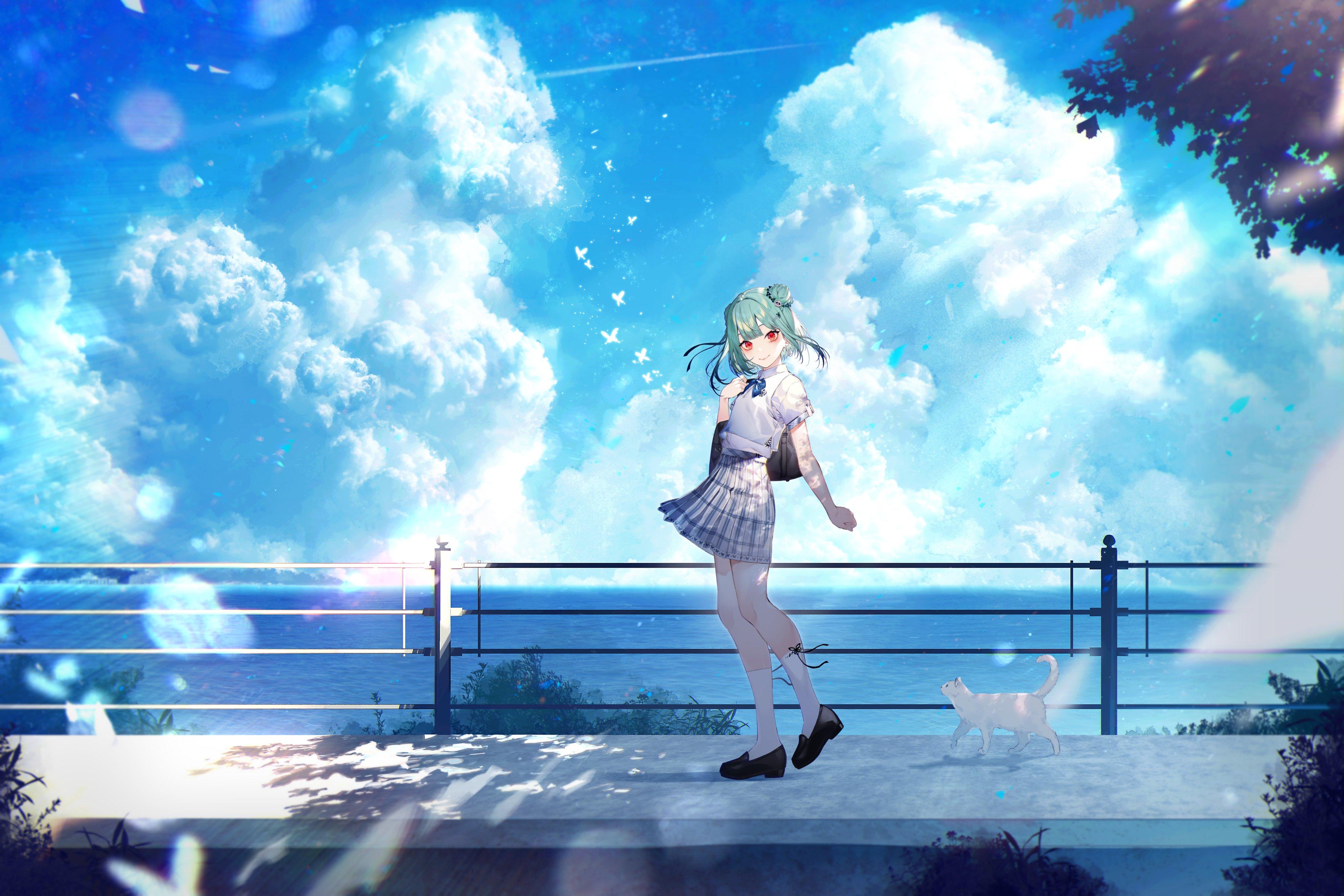 Anime 4096x2731 anime anime girls Uruha Rushia Hololive fan art Kayahara Virtual Youtuber cats green hair red eyes pale school uniform sky clouds