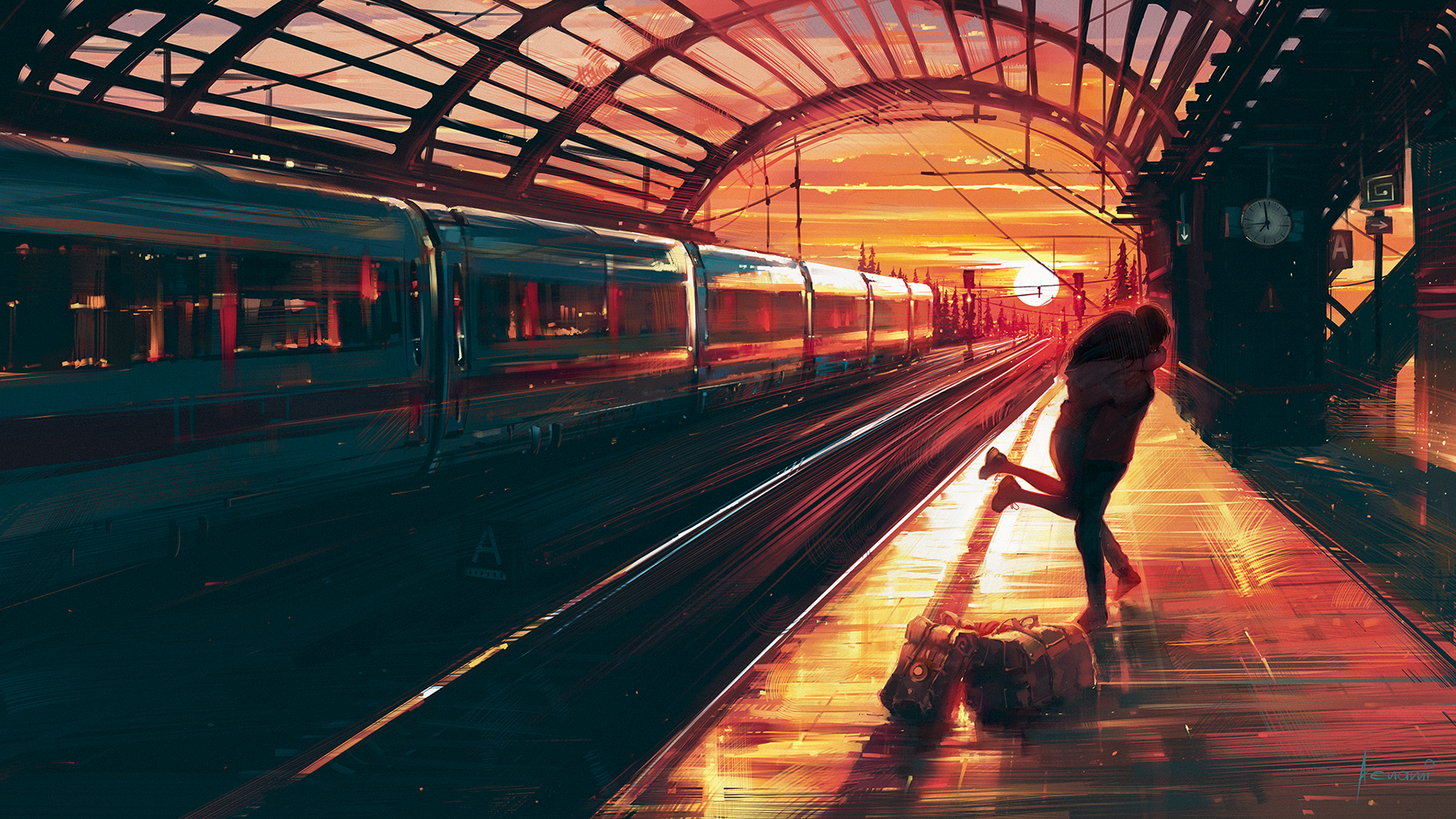 General 1920x1080 2D digital art landscape train station Aenami