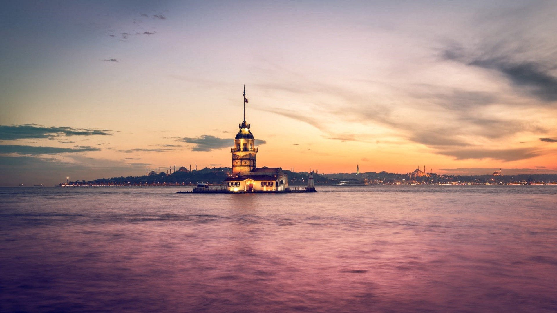 General 1920x1080 Istanbul Turkey Maiden's Tower Bosphorus sea building sunset city Kiz Kulesi Hagia Sophia city lights pink evening calm