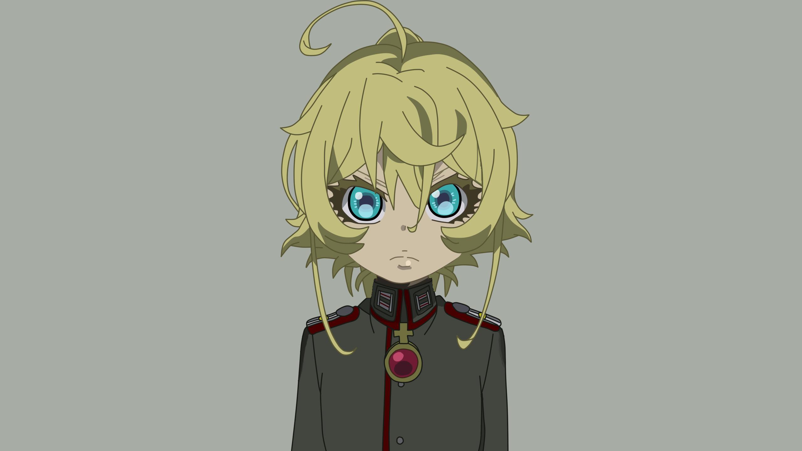 Anime 2560x1440 Youjo Senki Tanya Degurechaff anime girls anime simple background blue eyes