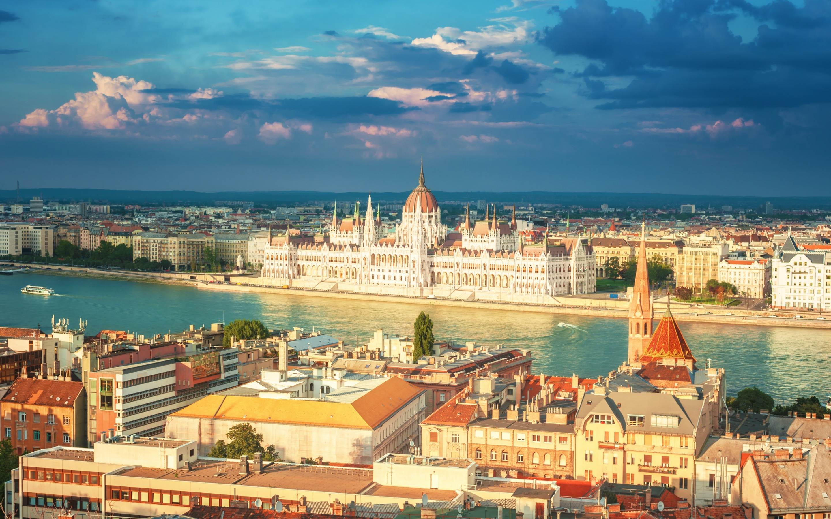 General 2880x1800 architecture building city cityscape clouds river ship Budapest Hungary Hungarian Parliament Building old building church Gothic architecture Donau rooftops capital