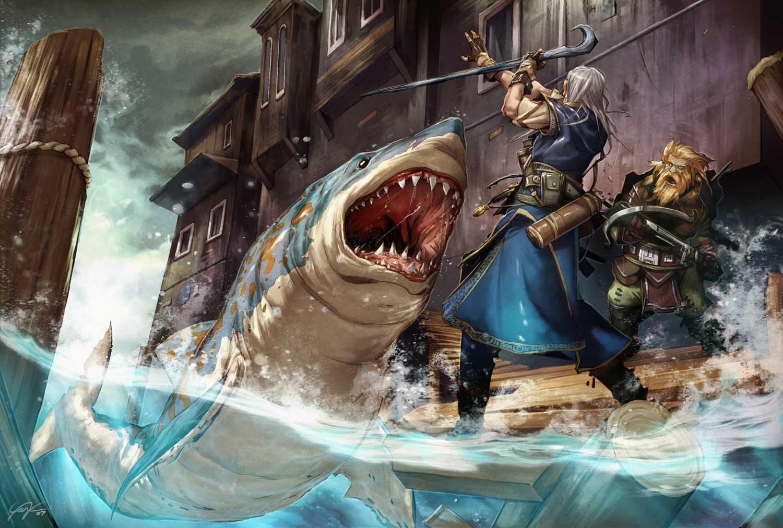 General 1500x1012 artwork warrior shark water fantasy art fish Pathfinder