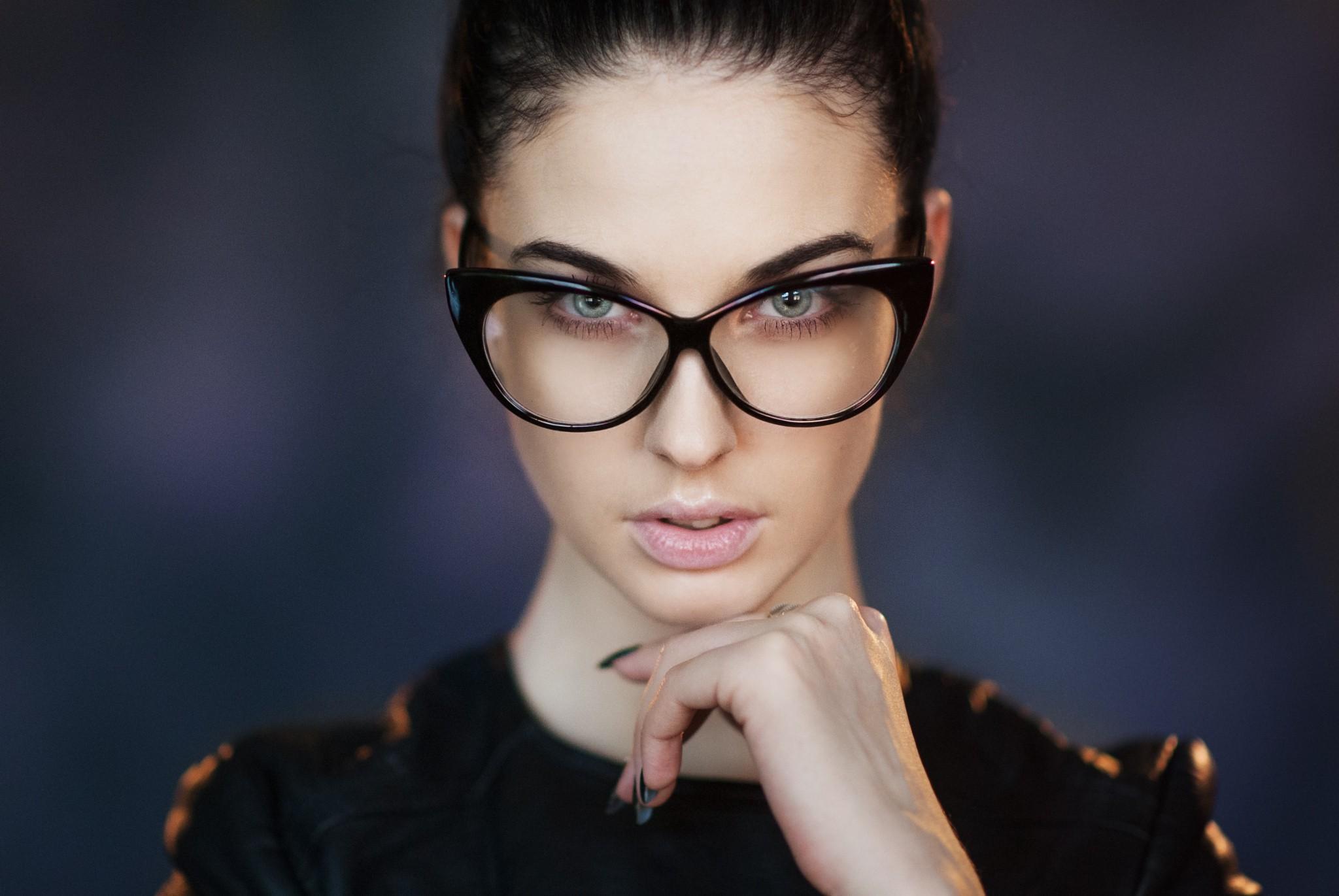 People 2048x1371 women model looking at viewer Maxim Maksimov Alla Berger brunette portrait fake glasses Maxim Maximov women with glasses blue eyes