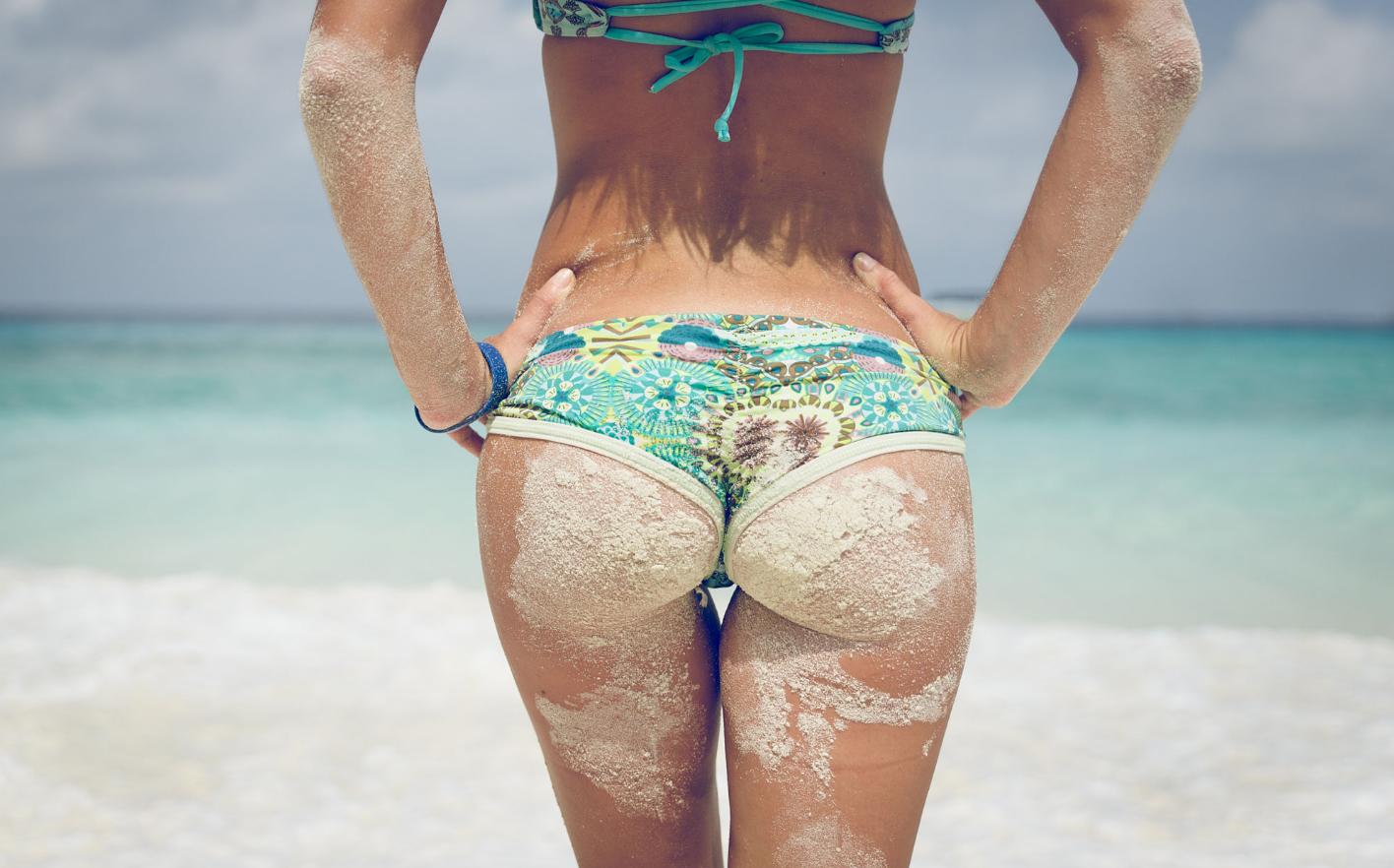 People 1416x882 women bikini summer ass hot spring sand covered the gap sea hands on hips back women outdoors