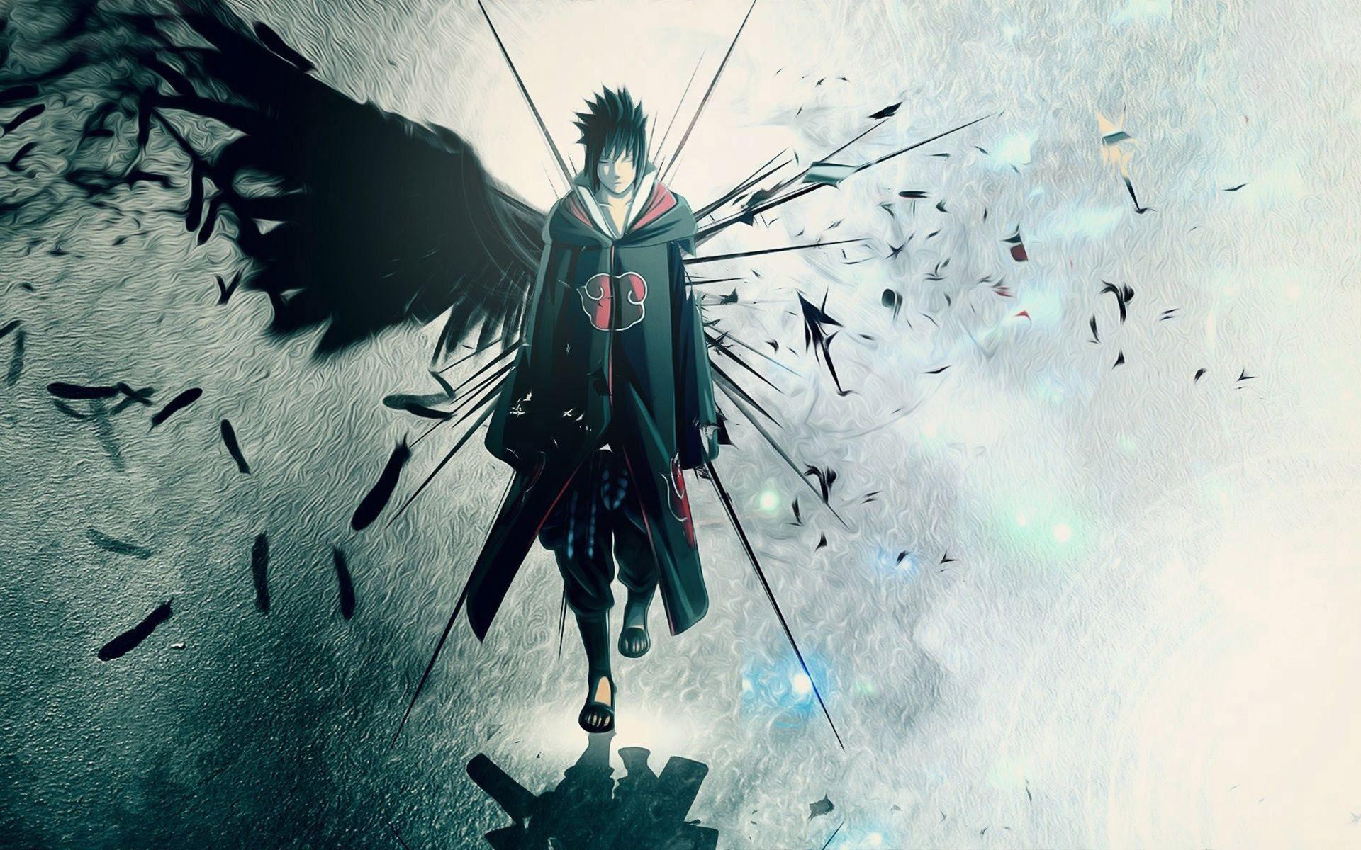Anime 1920x1200 anime Uchiha Sasuke Naruto Shippuuden Road to Ninja: Naruto the Movie Akatsuki anime boys wings feathers cyan