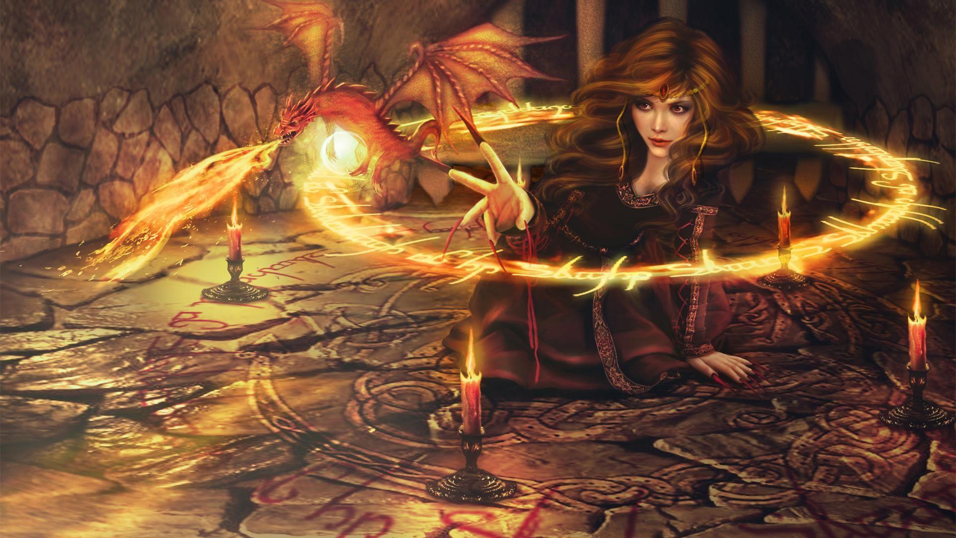 General 1920x1080 digital art fantasy art women dragon fire magic candles sorceress witch circle