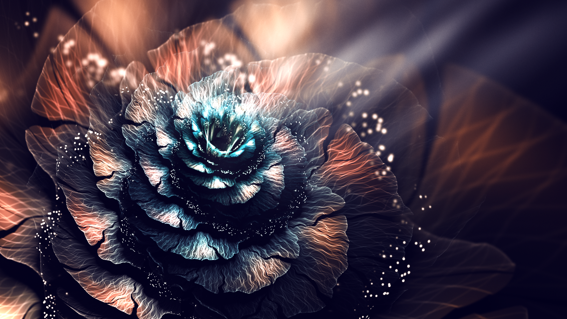 General 1920x1080 3D abstract fractal fractal flowers digital art