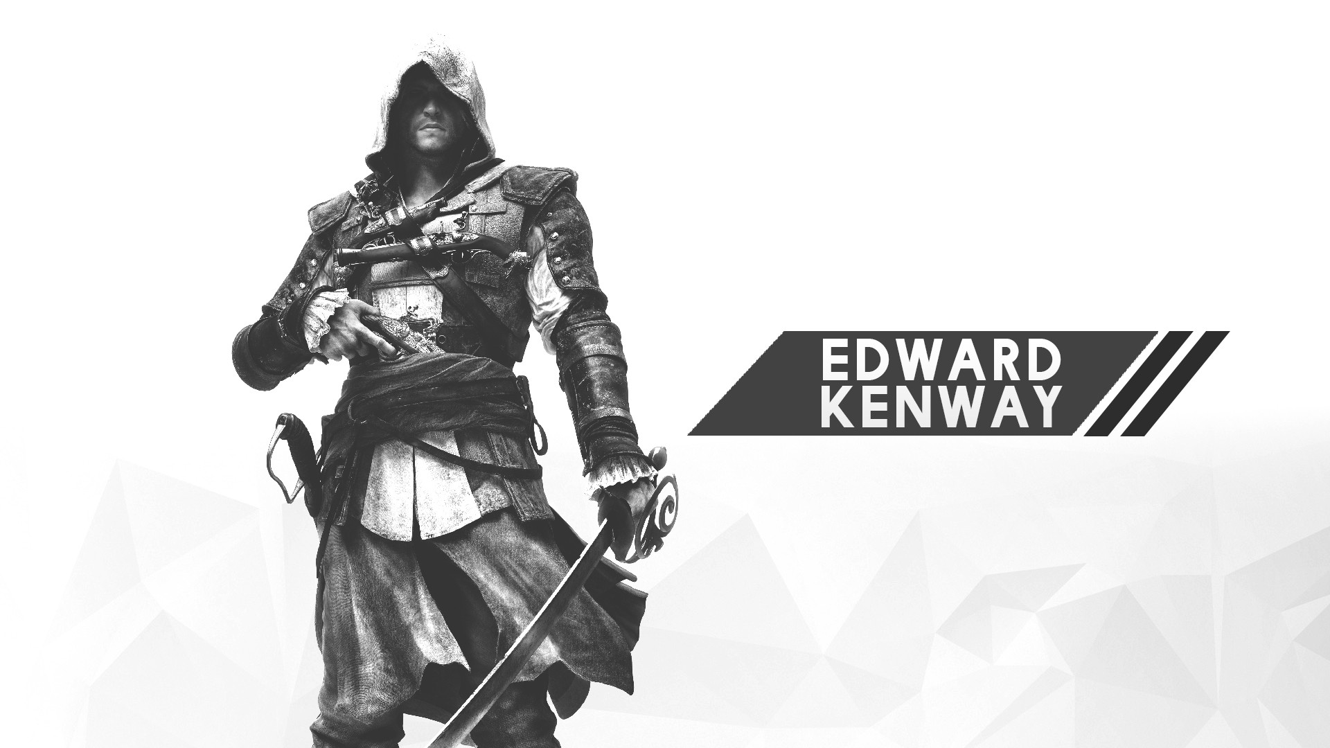 General 1920x1080 Assassin's Creed digital art minimalism 2D white white background video games Edward Kenway Assassin's Creed: Black Flag