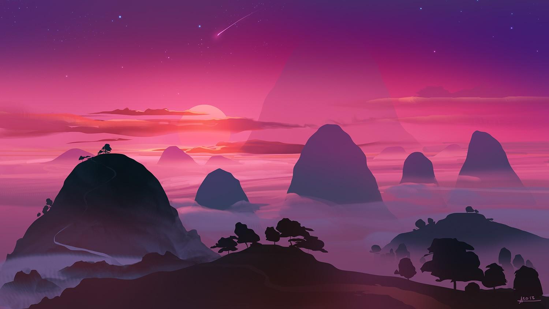 General 1500x844 artwork illustration mountains sunset sky stars