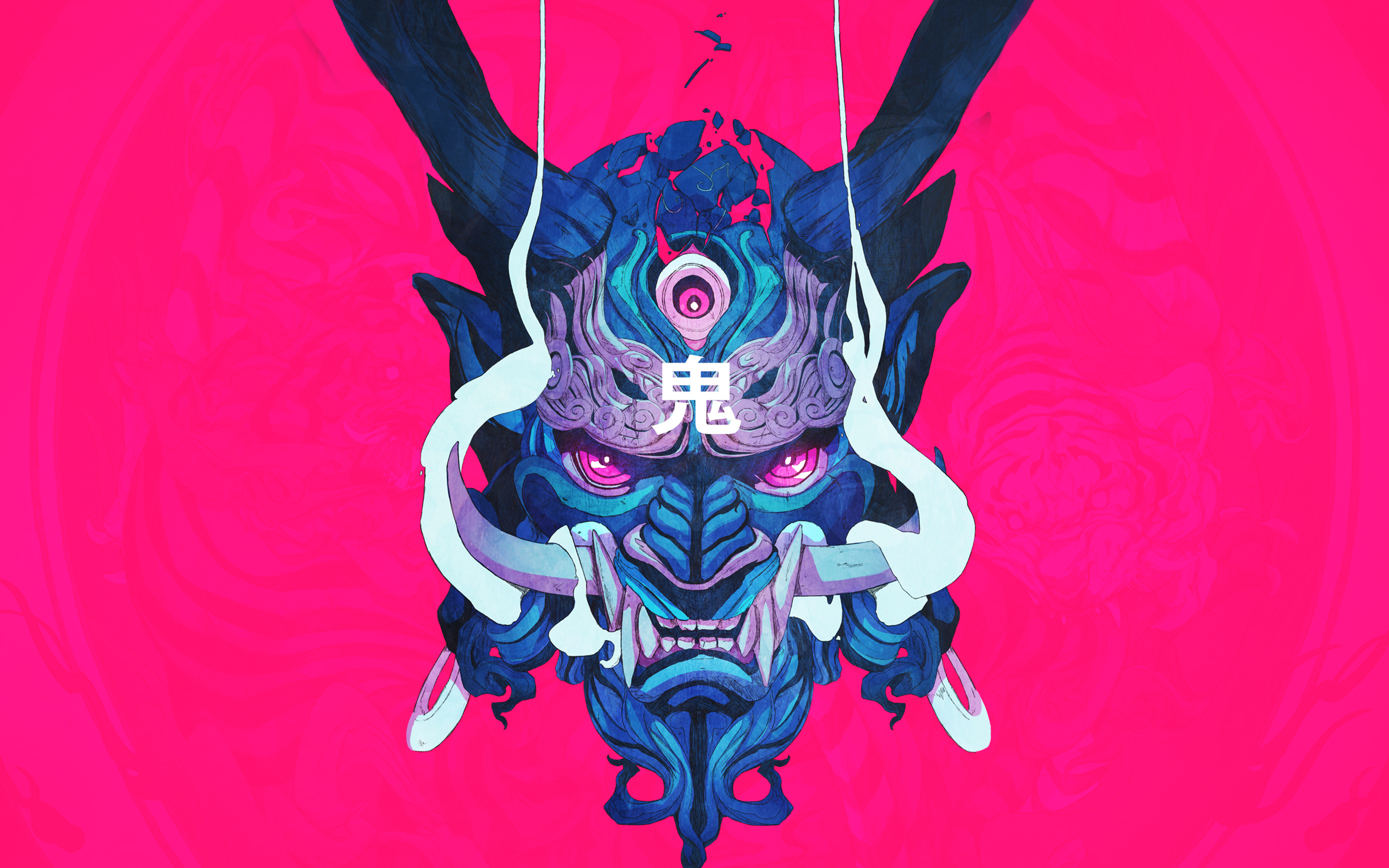 General 2560x1600 mask demon ChunLo illustration oni mask Chun Lo artwork pink blue looking at viewer digital samurai warrior sketches Ukiyo-e