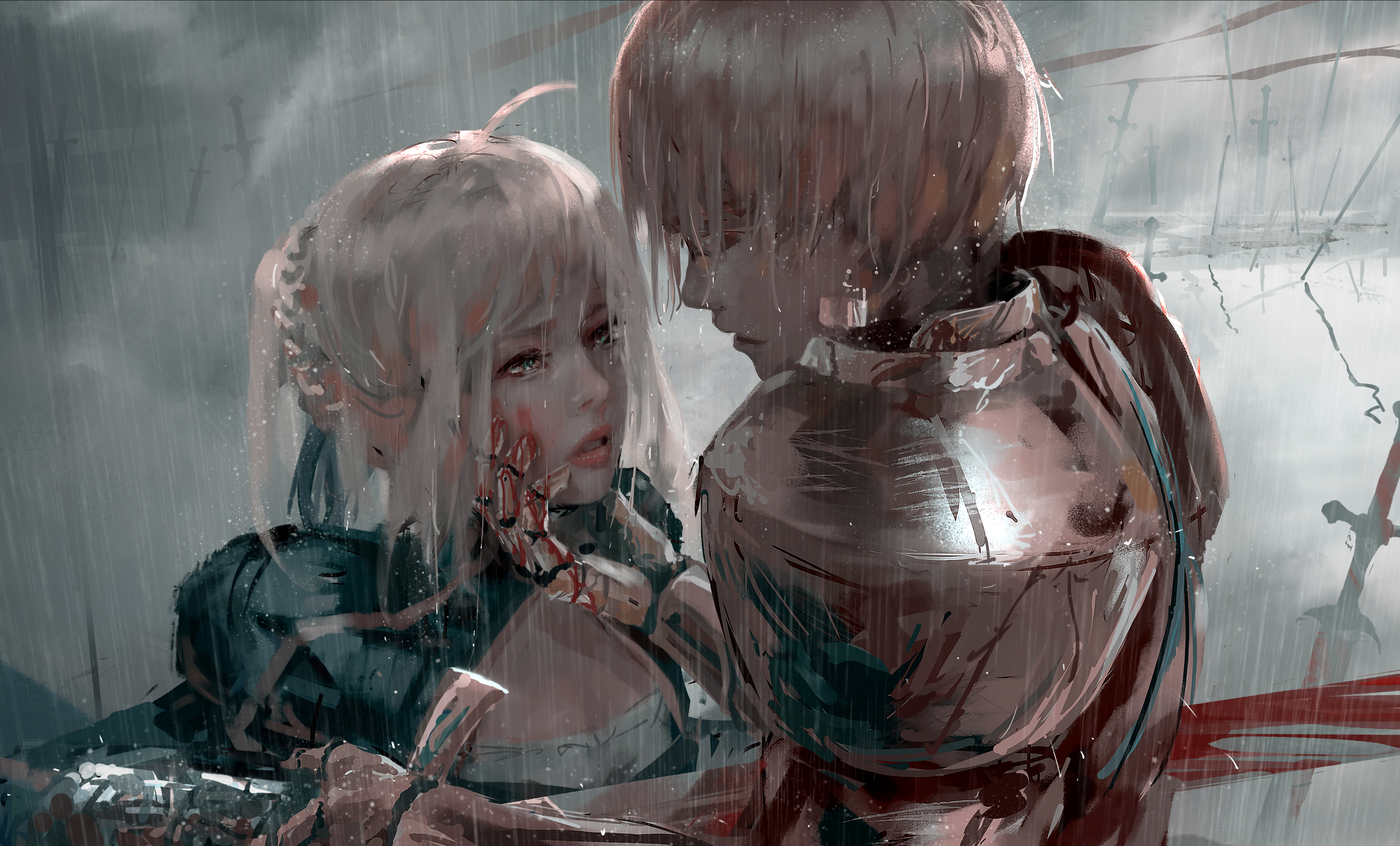 Anime 4000x2416 digital art artwork women blonde short hair anime anime girls armour WLOP blood sword Fate/Zero Saber Gilgamesh blue eyes Fate Series Fate/Stay Night