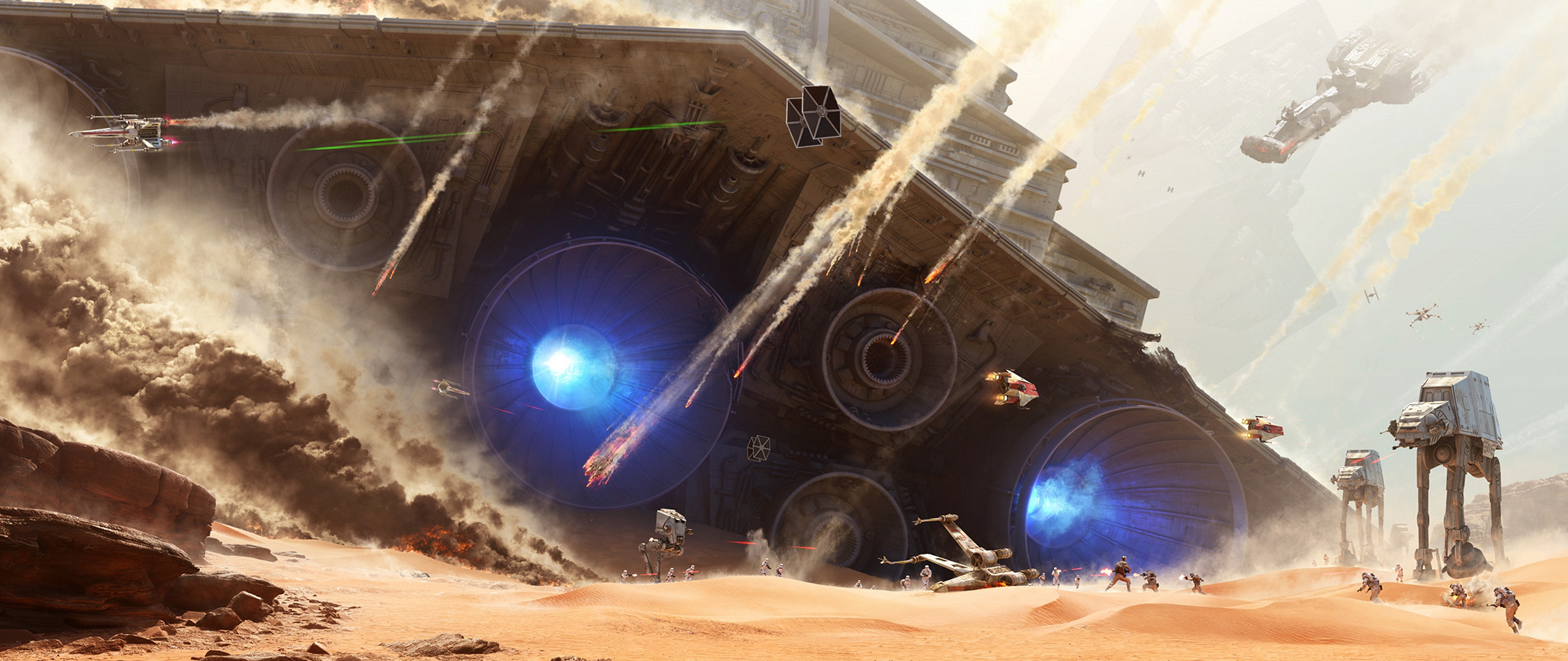 General 2560x1080 ultrawide Star Wars video game art battle AT-AT X-wing TIE Fighter science fiction Star Wars: Battlefront video games PC gaming
