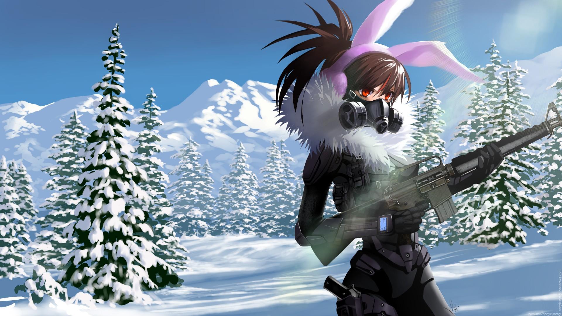 Anime 1920x1080 anime anime girls long hair snow winter weapon gun brunette red eyes bunny ears headphones M16