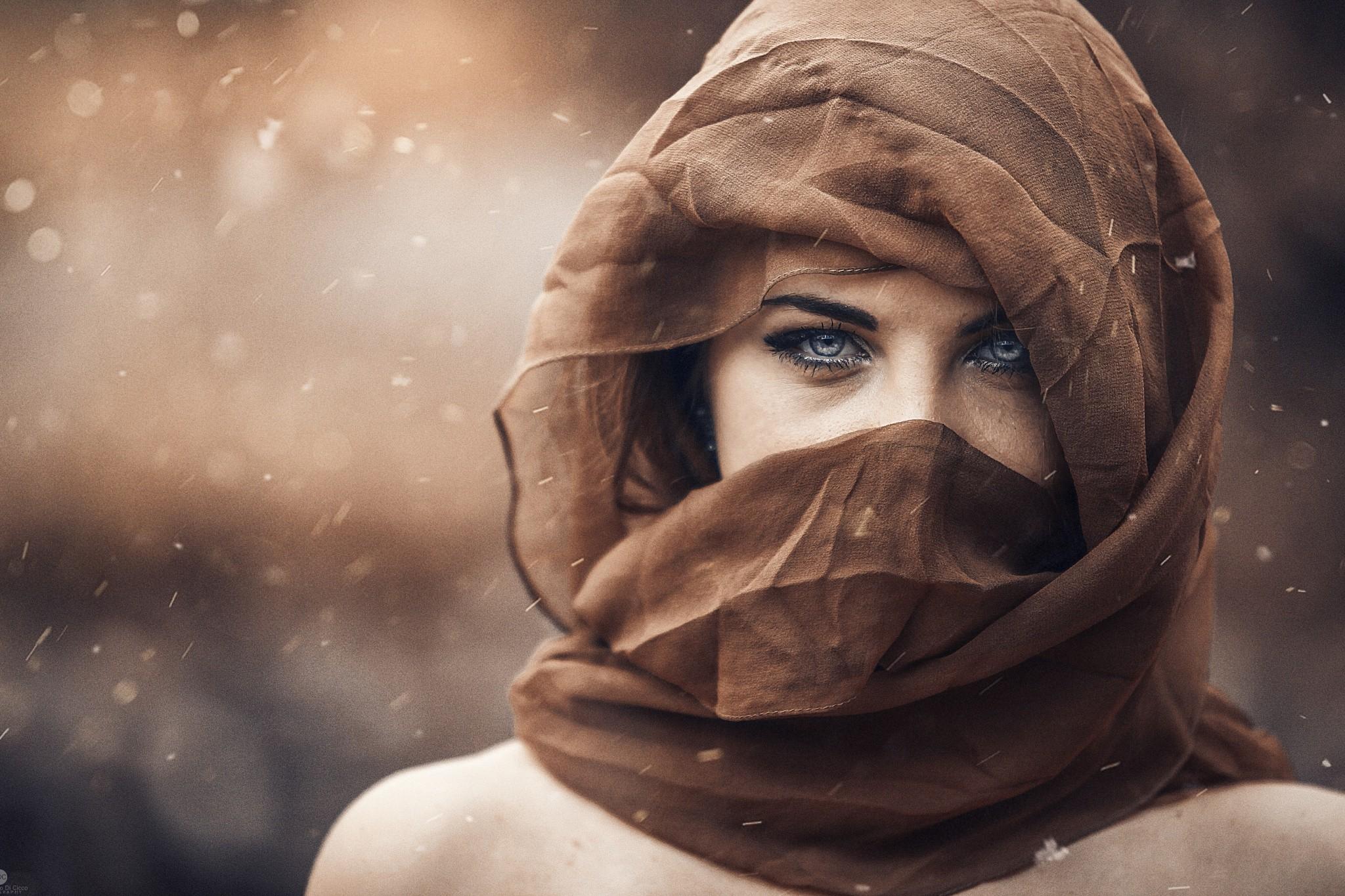 People 2048x1365 women model looking at viewer sensual gaze brunette scarf blue eyes