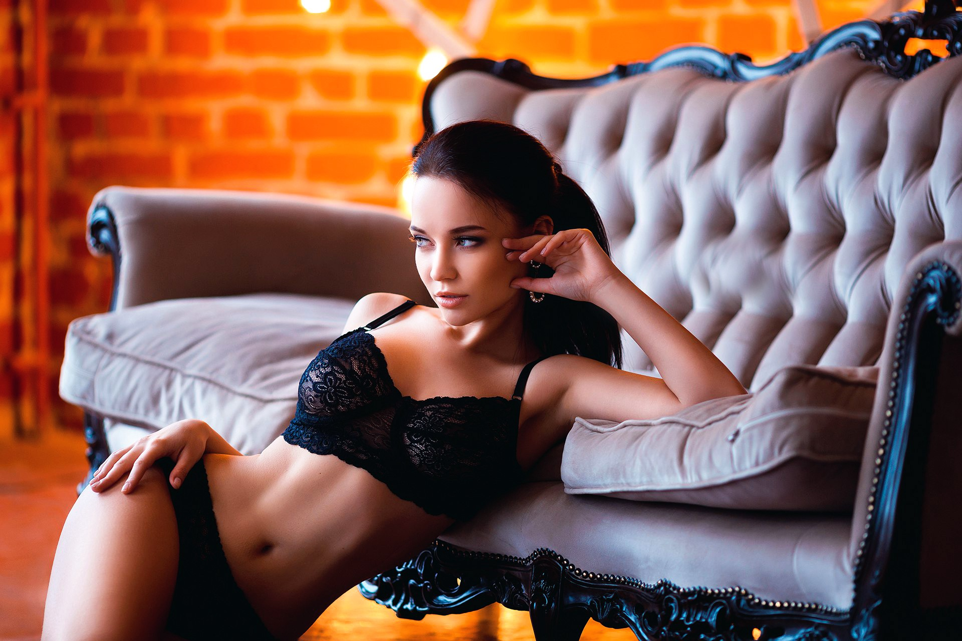 People 1920x1280 couch lingerie women model Angelina Petrova brunette black lingerie boobs panties bra black panties black bras hands on hips armpits looking away sensual gaze Marine Akopyan