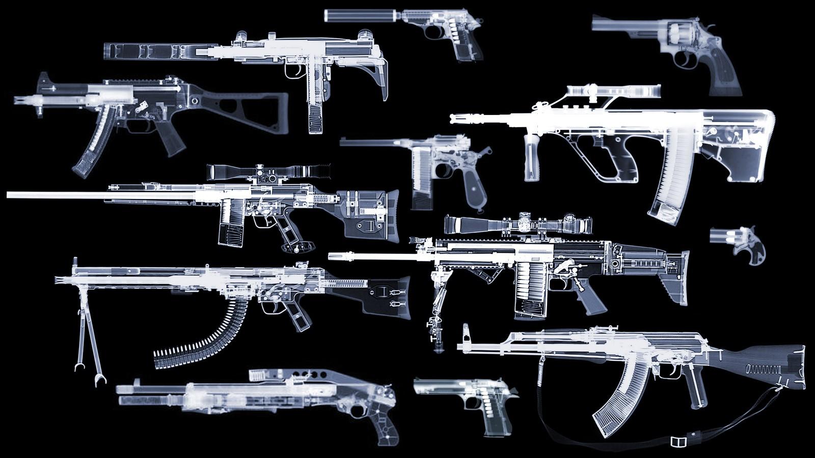 General 1600x900 x-rays gun rifles pistol Steyr AUG  uzi HK UMP AKM FN SCAR-H Mauser C96 Heckler & Koch Desert Eagle Walther PPK Smith & Wesson Remington spas-12
