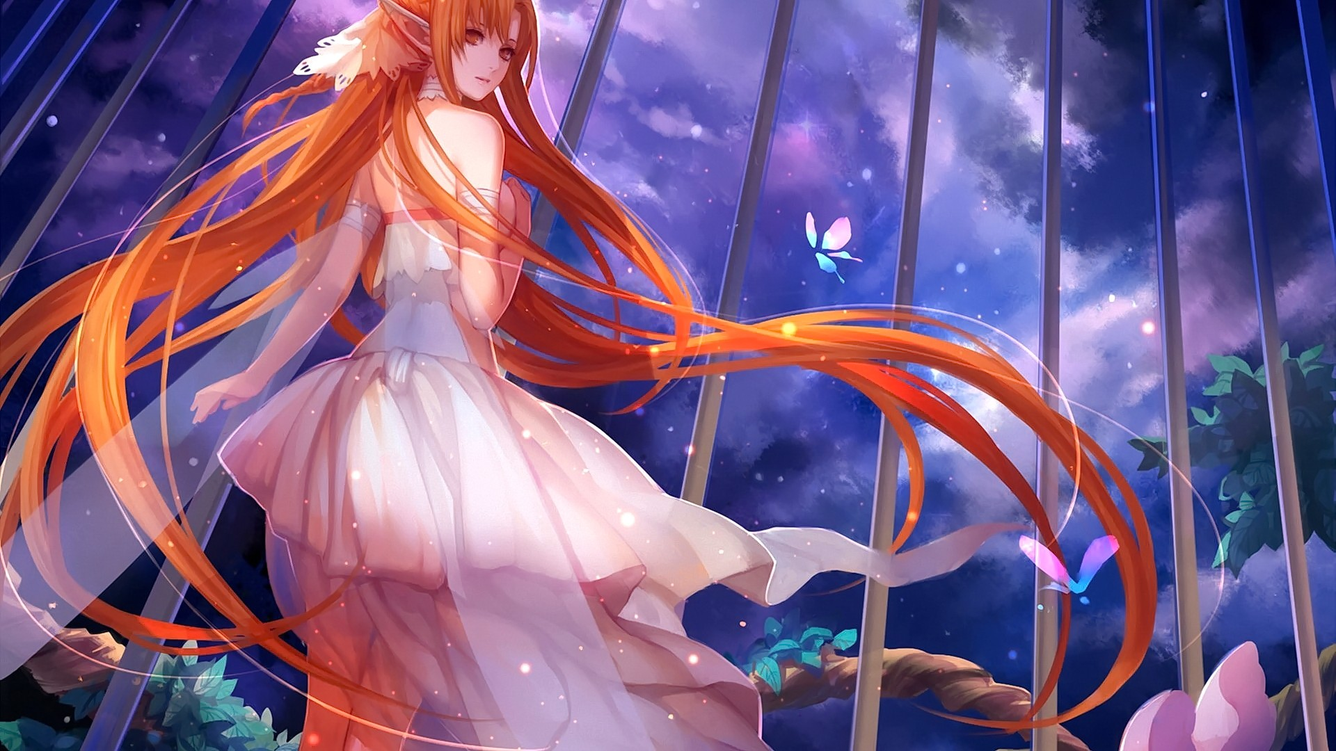 Anime 1920x1080 Sword Art Online Yuuki Asuna long hair white dress wings fairies butterfly plants night clouds anime girls anime brown eyes looking at viewer redhead