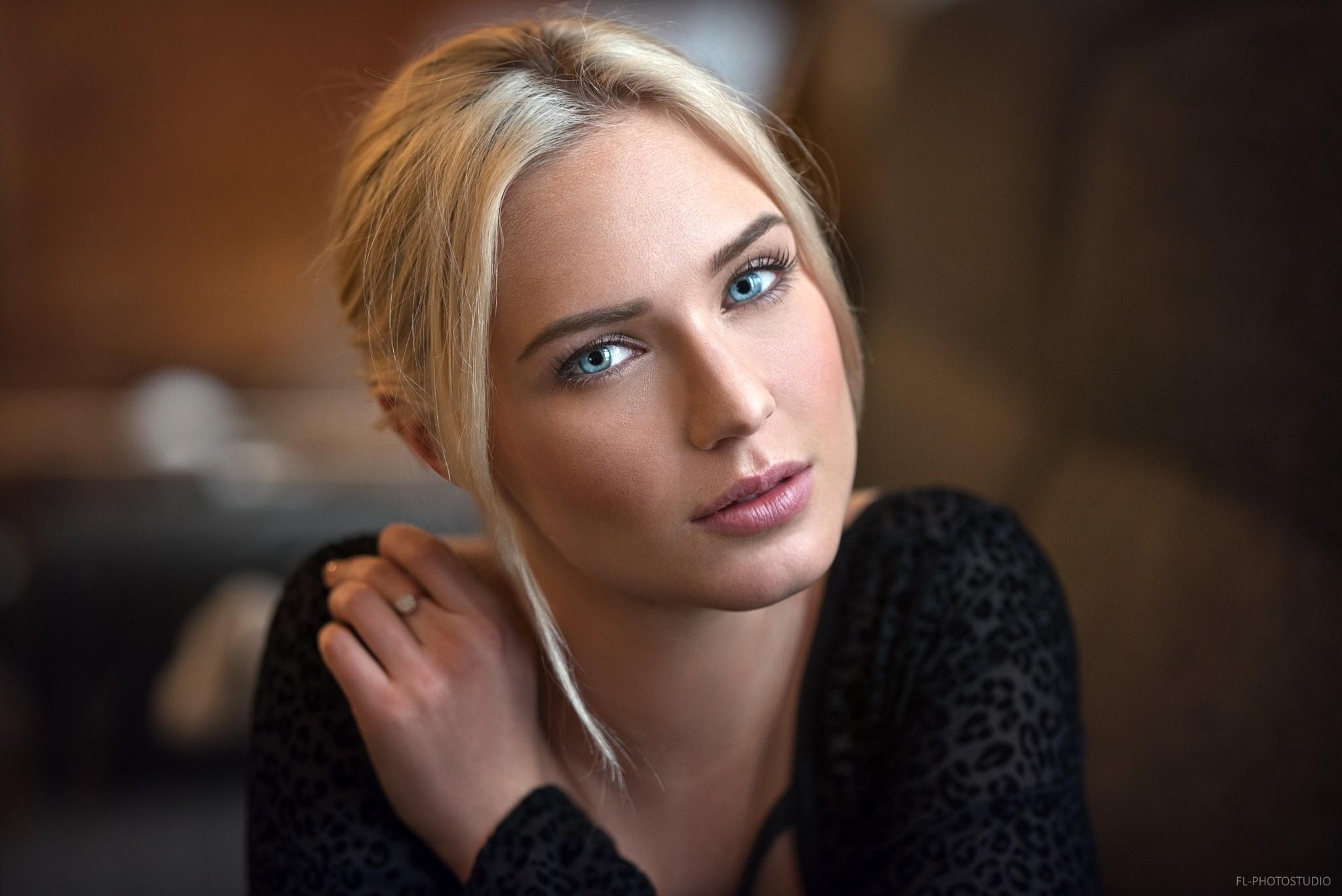 People 2048x1367 women blonde face blue eyes portrait depth of field natural light black clothing Lods Franck Eva Mikulski