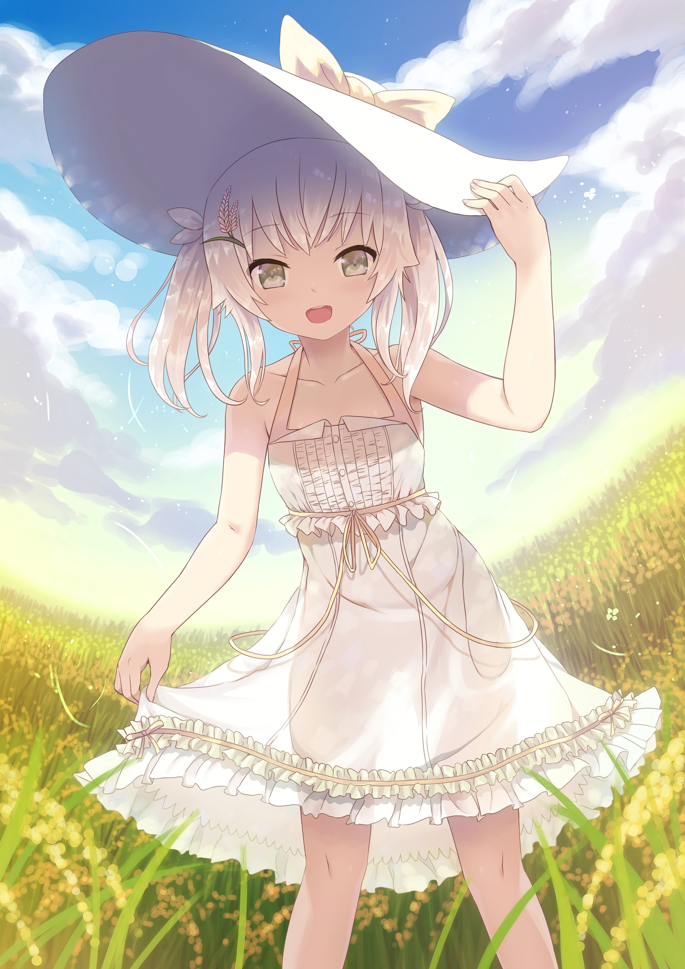 Anime 2262x3200 anime anime girls field dress white dress looking at viewer smiling gray eyes white hair short hair hat sun hats grass Frill dress frills