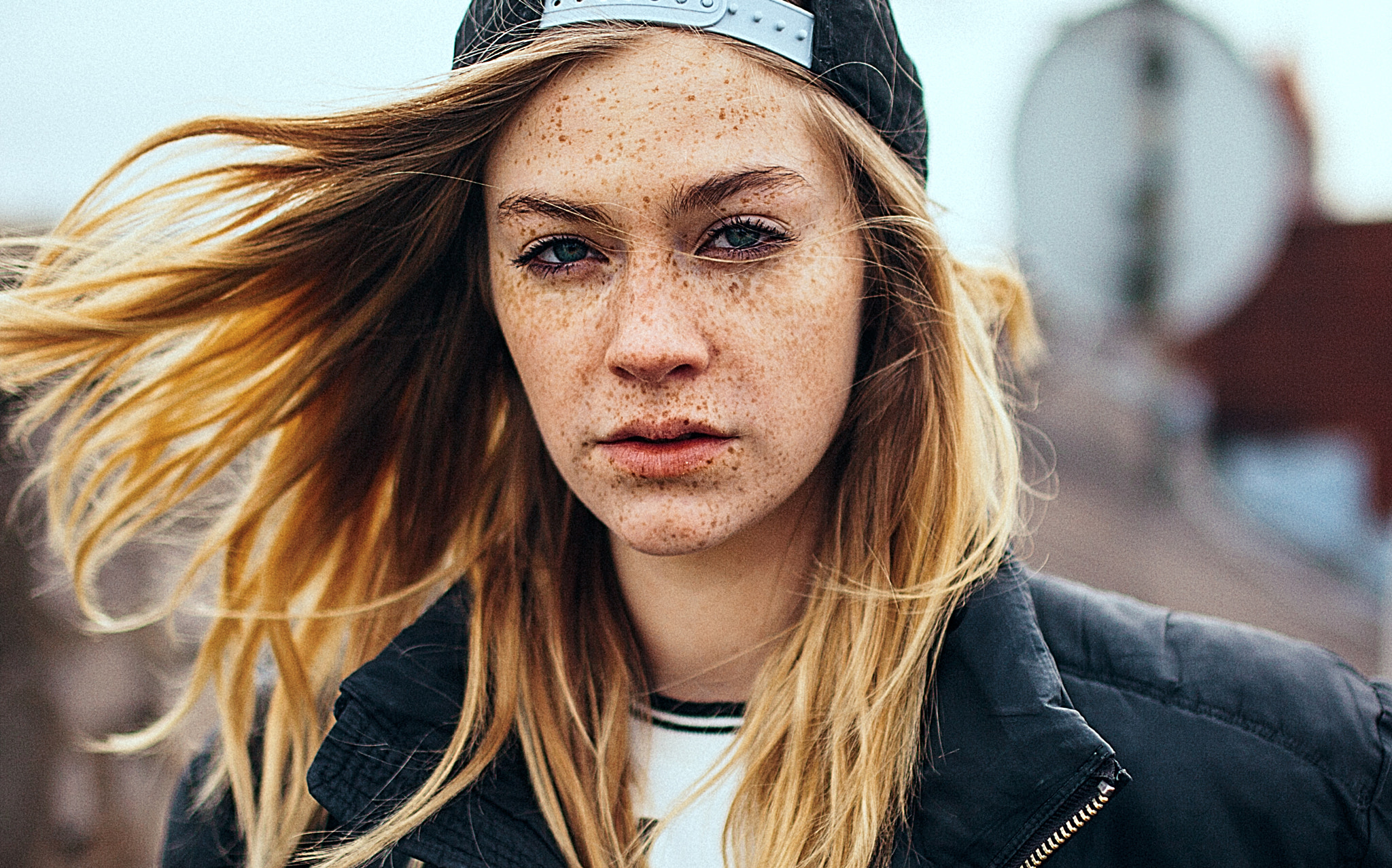People 2048x1279 women blonde blue eyes baseball caps open mouth freckles looking at viewer André Josselin