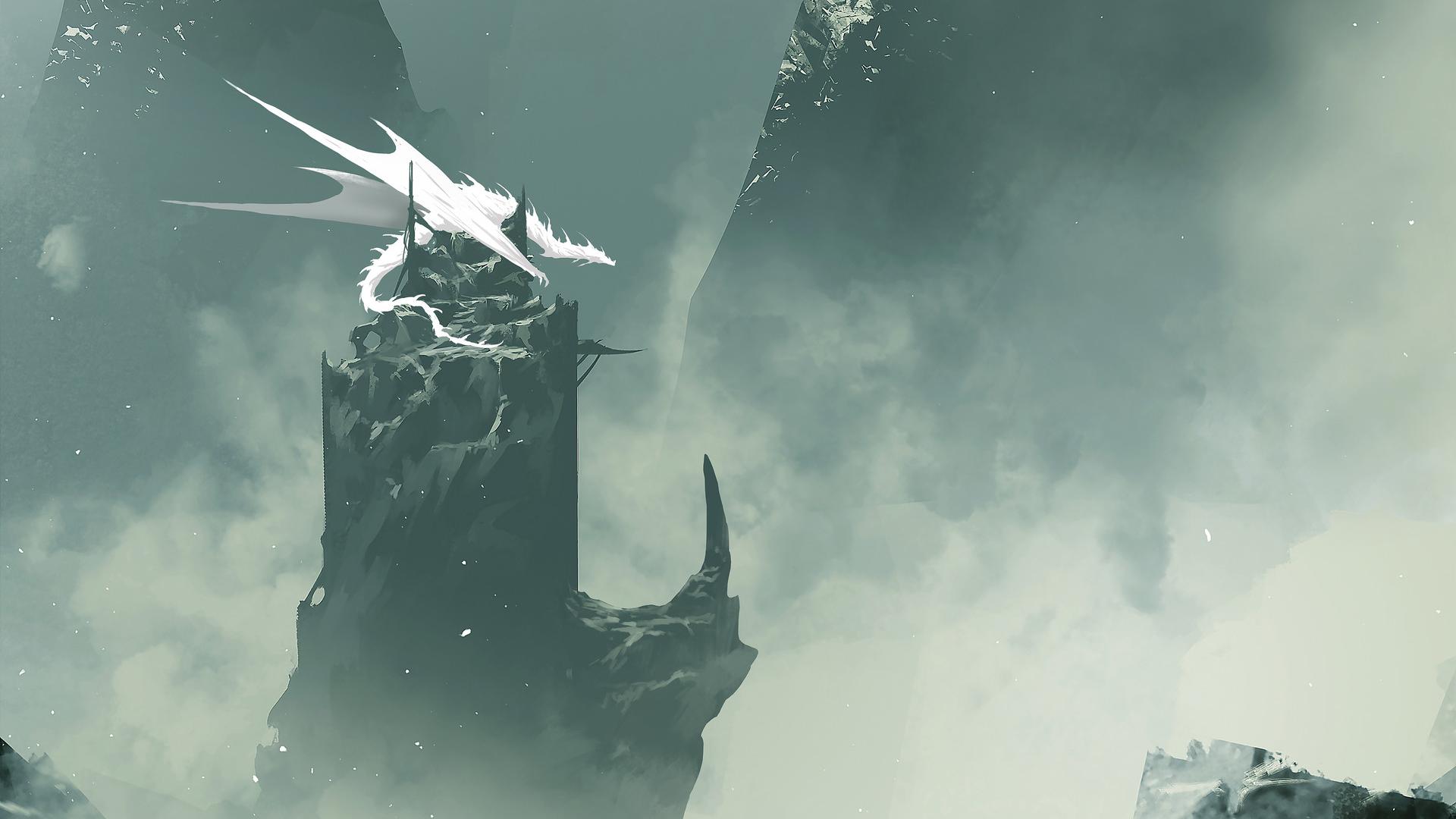 General 1920x1080 fantasy art dragon white mist minimalism
