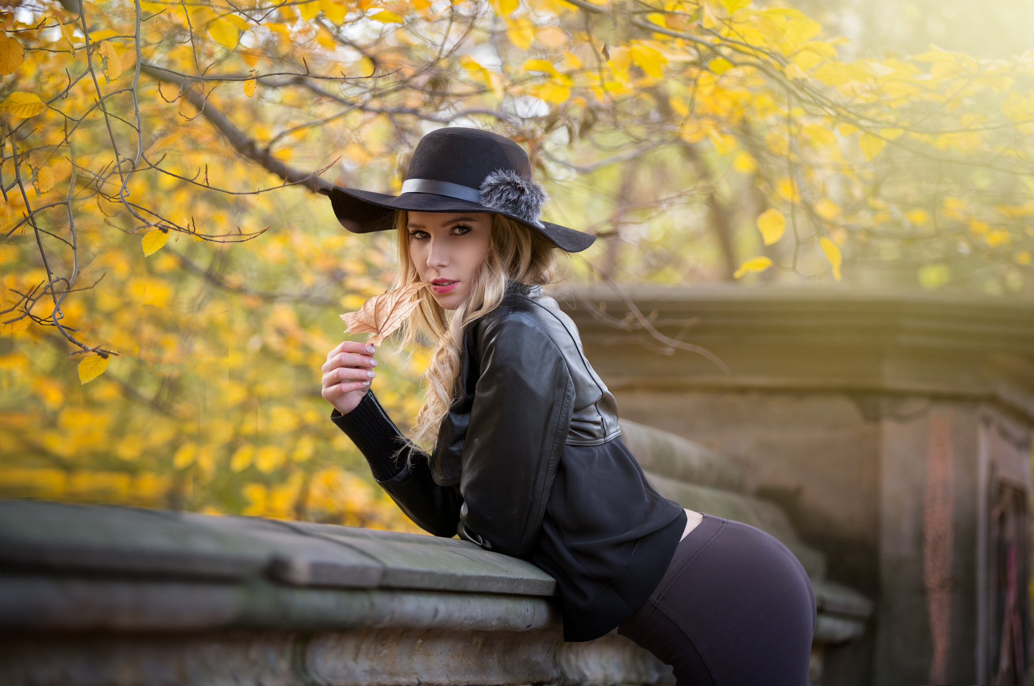 People 2048x1358 women hat blonde portrait leather jackets leaves women outdoors black clothing yoga pants